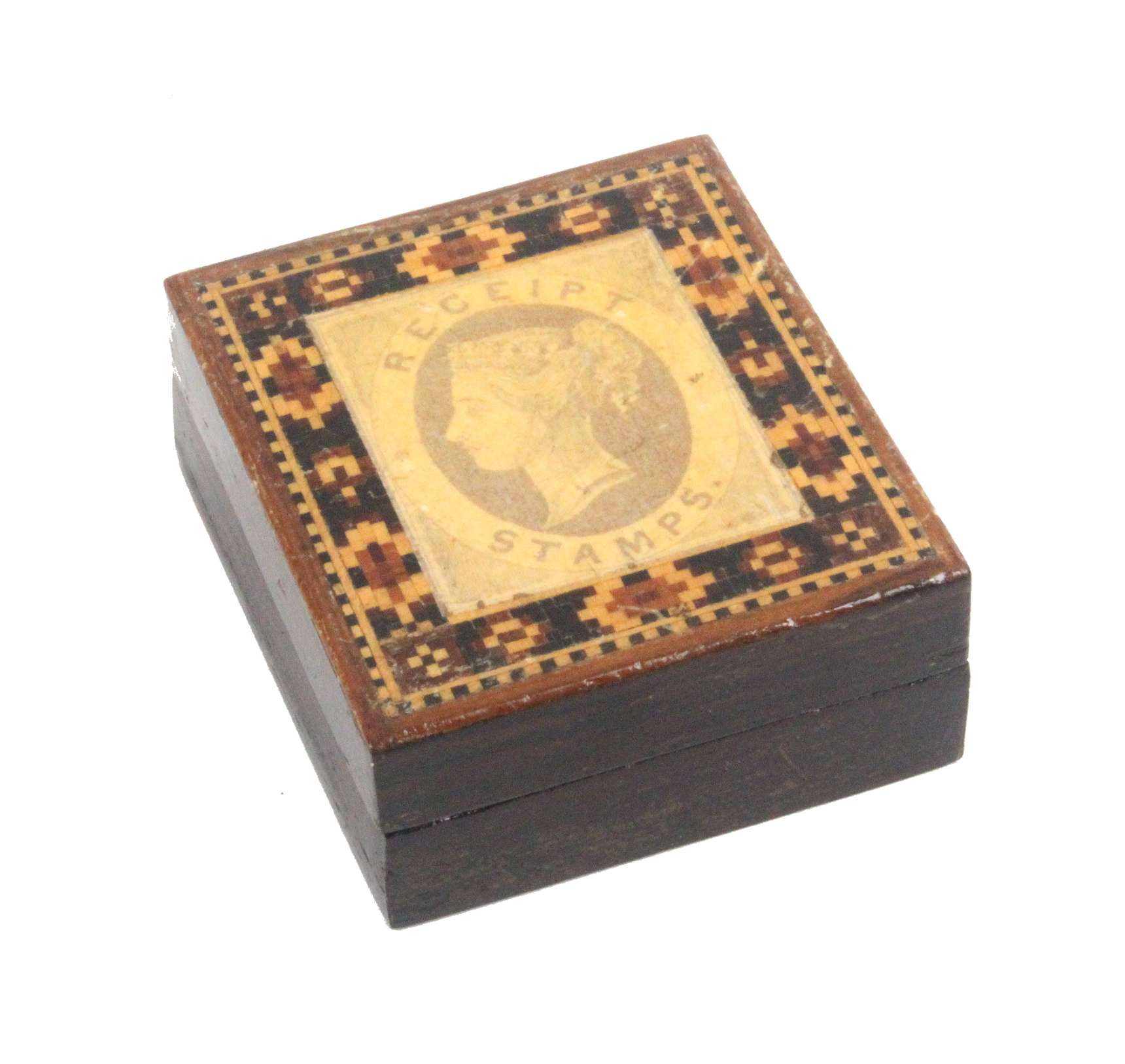 Lot 47 - A Tunbridge ware rosewood stamp box, the lid with applied print 'Receipt Stamps' within a