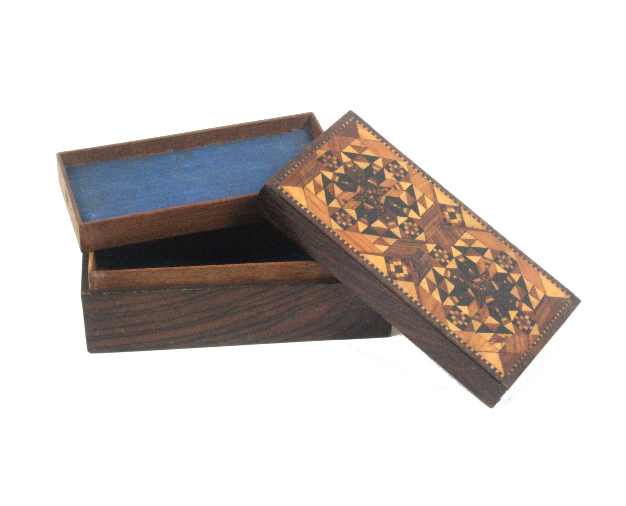 Lot 42 - A Tunbridge ware rosewood box of rectangular form the lift off lid with an attractive stick ware