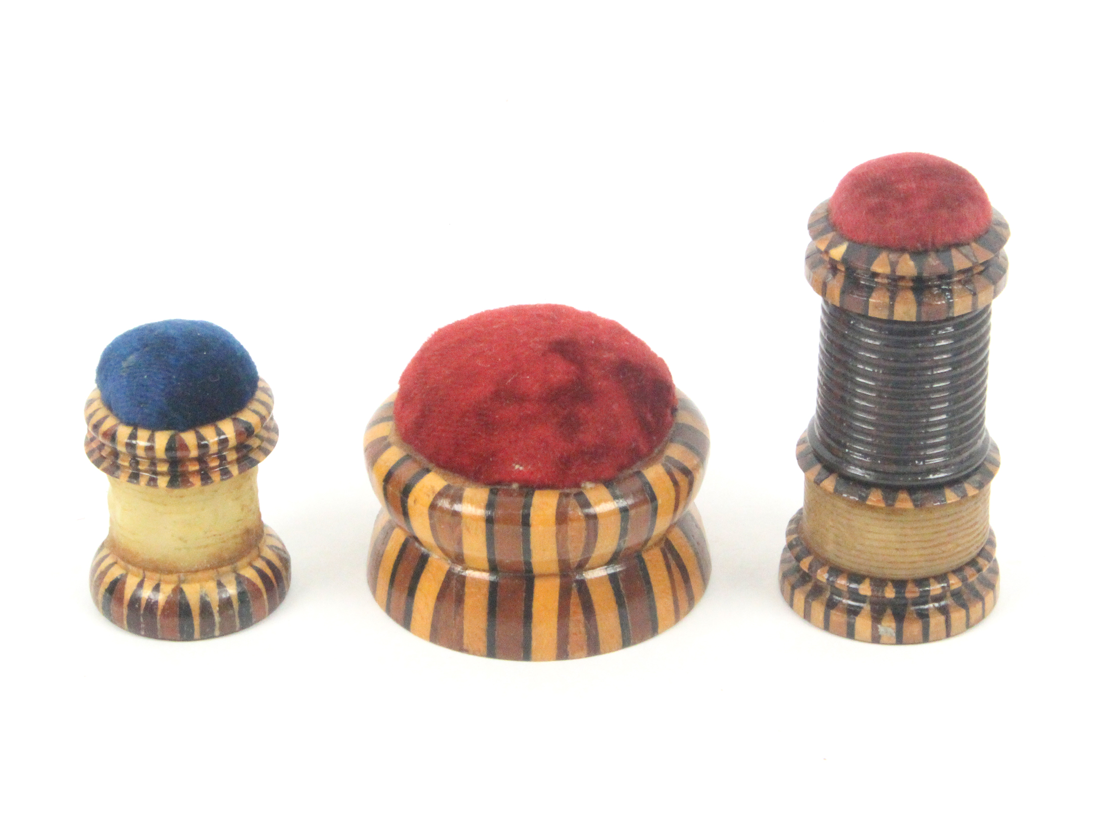 Tunbridge ware - sewing - three pieces, comprising a combination waxer/tape measure/pin cushion in