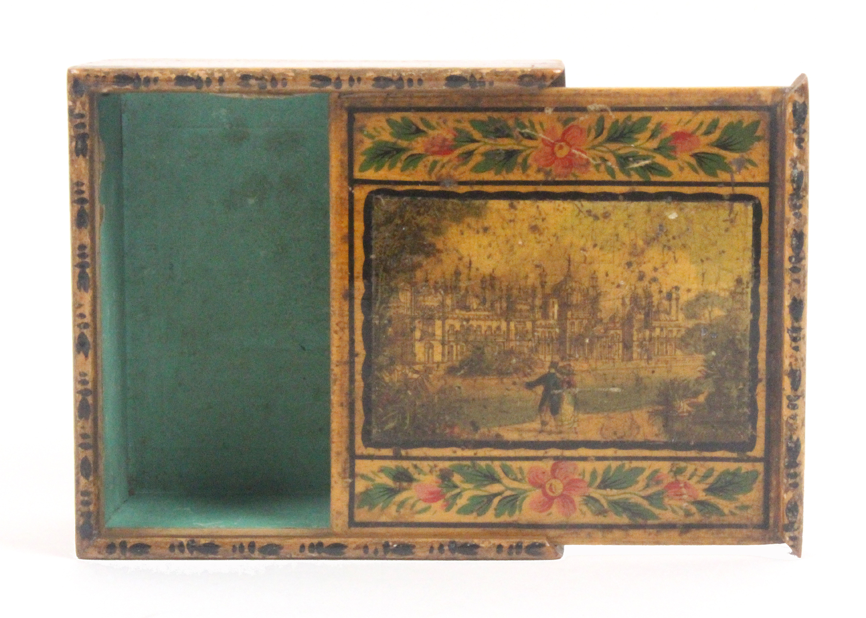 An early painted and print decorated Tunbridge ware whitewood box, the sliding lid with a colour - Image 2 of 2