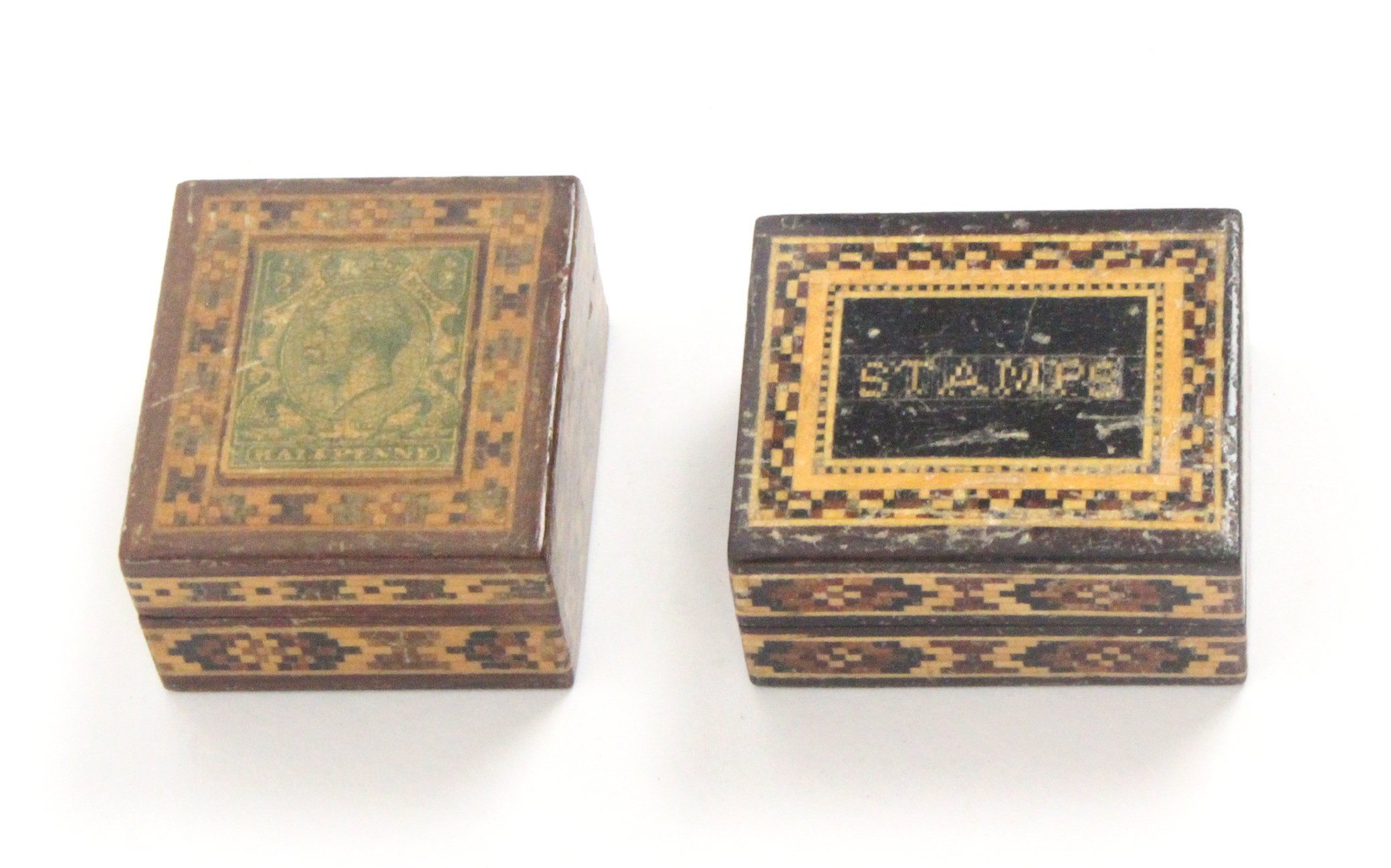 Tunbridge ware - two stamp boxes, both rectangular comprising an example titled to the lid in mosaic