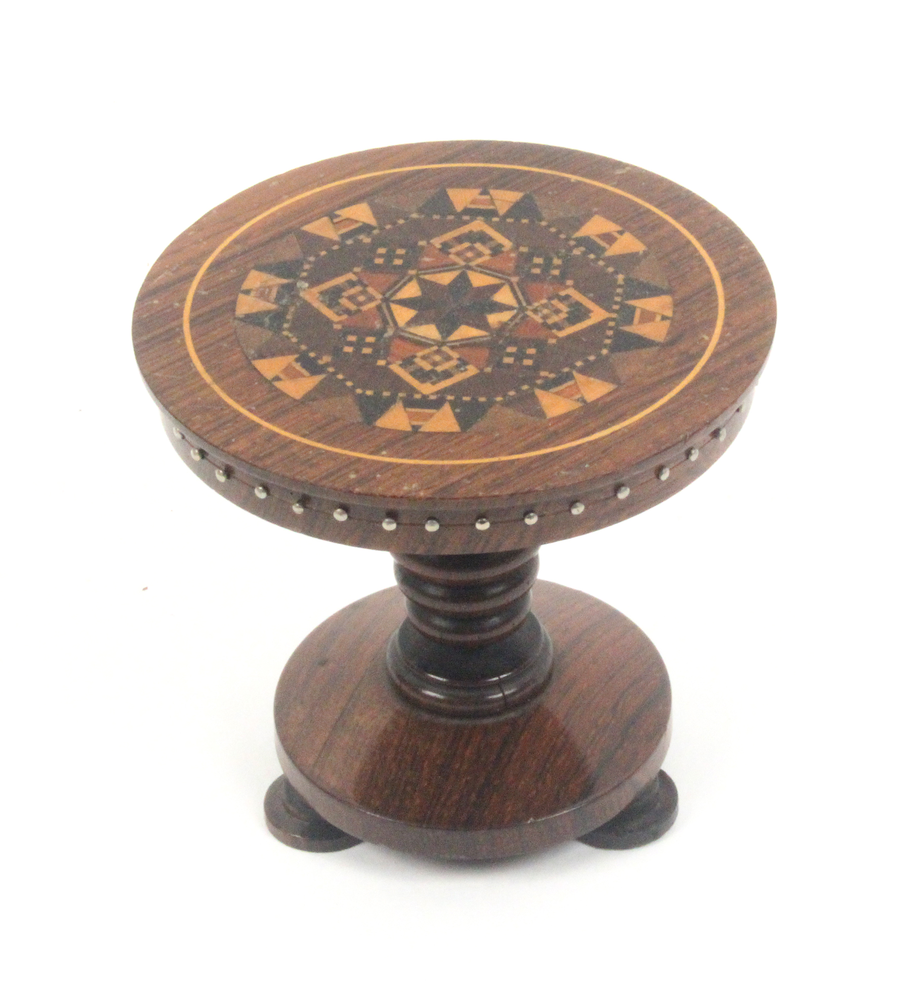 Lot 41 - A good rosewood Tunbridge ware pin table, the circular top in stickware, on a turned pedestal,