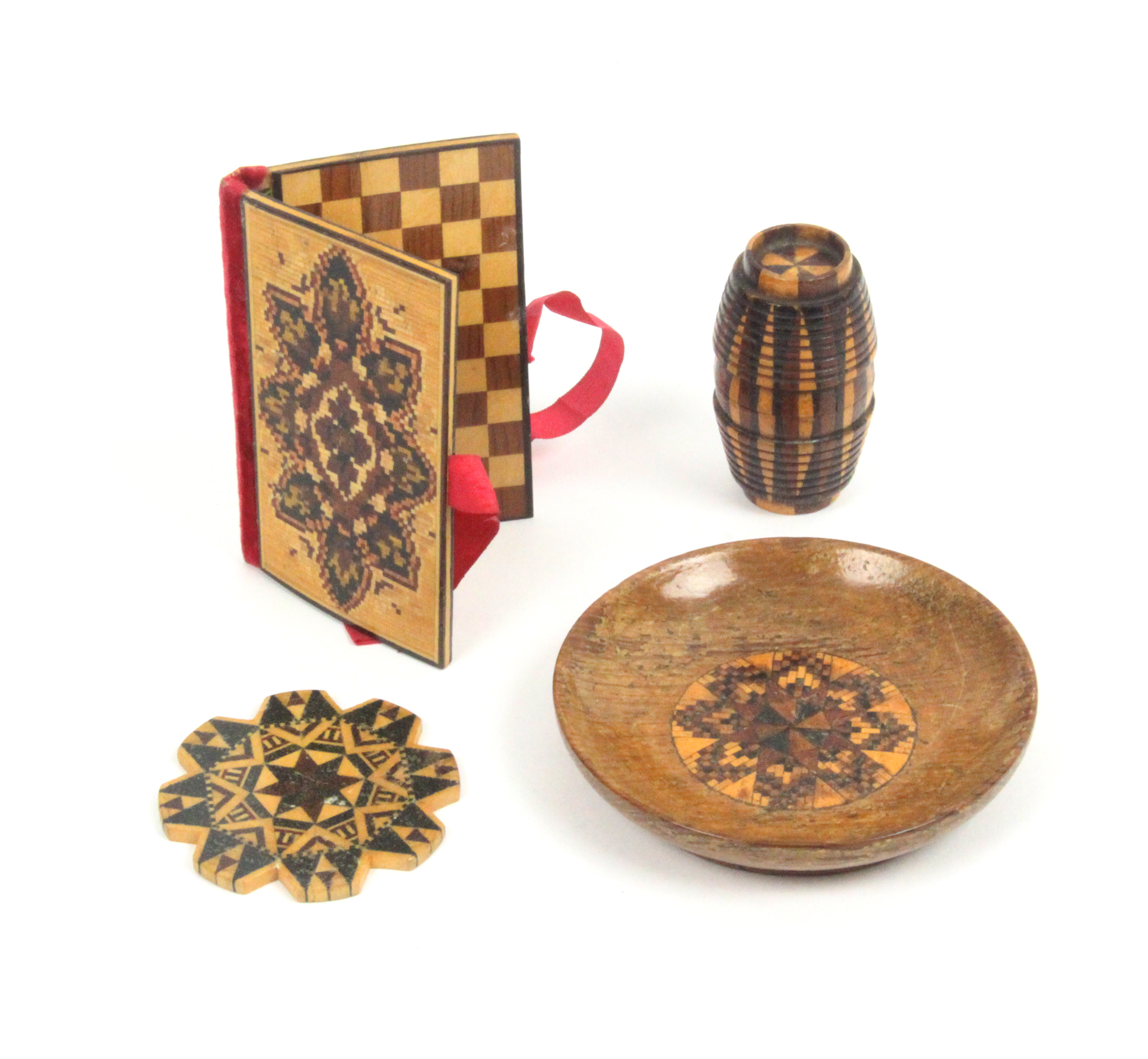 Lot 15 - Tunbridge ware - sewing - four pieces comprising an oak pin dish with mosaic circular panel, 7cm,