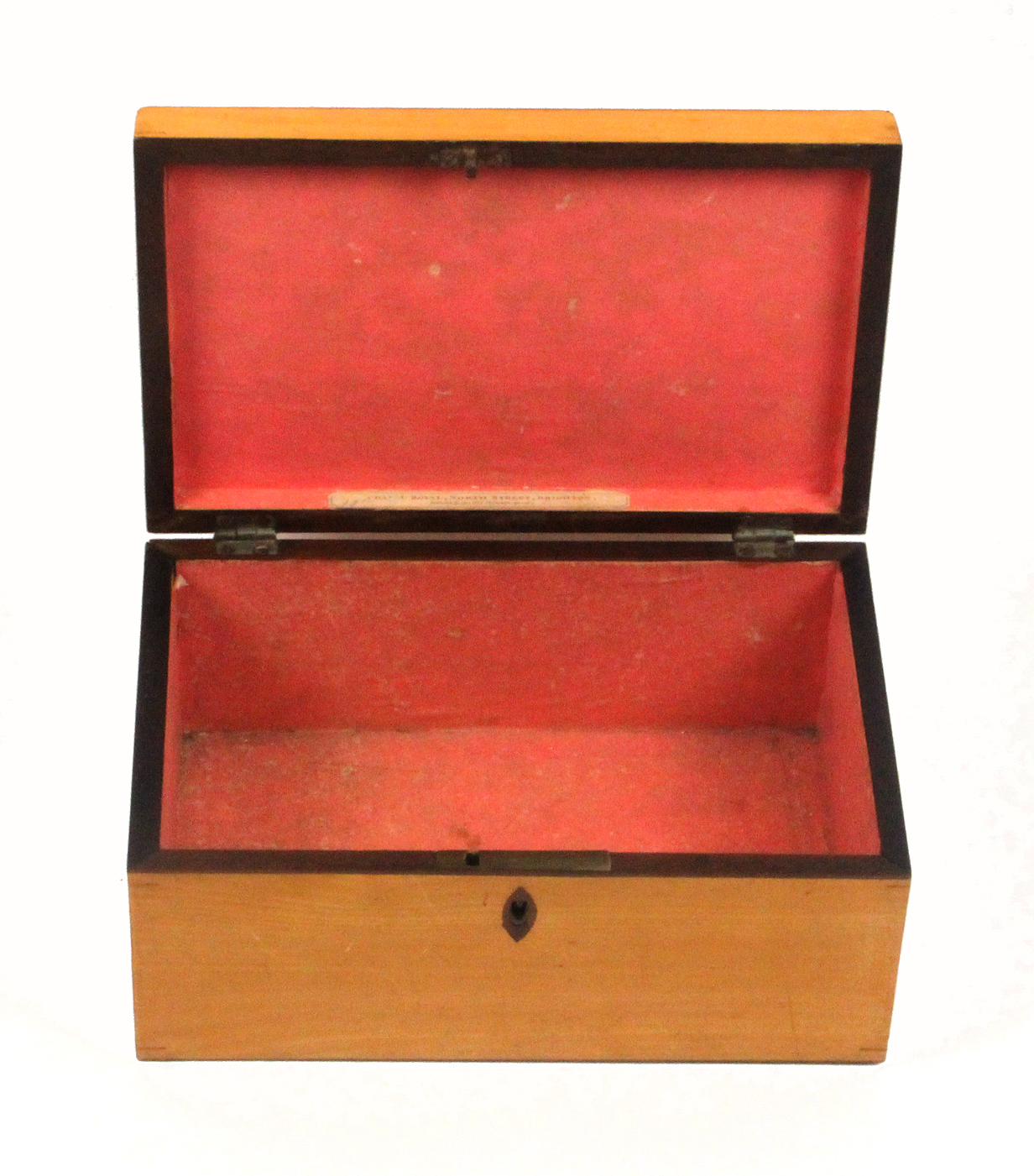 Lot 26 - A good and rare early Tunbridge ware white wood print decorated box by Geo. Wise of rectangular