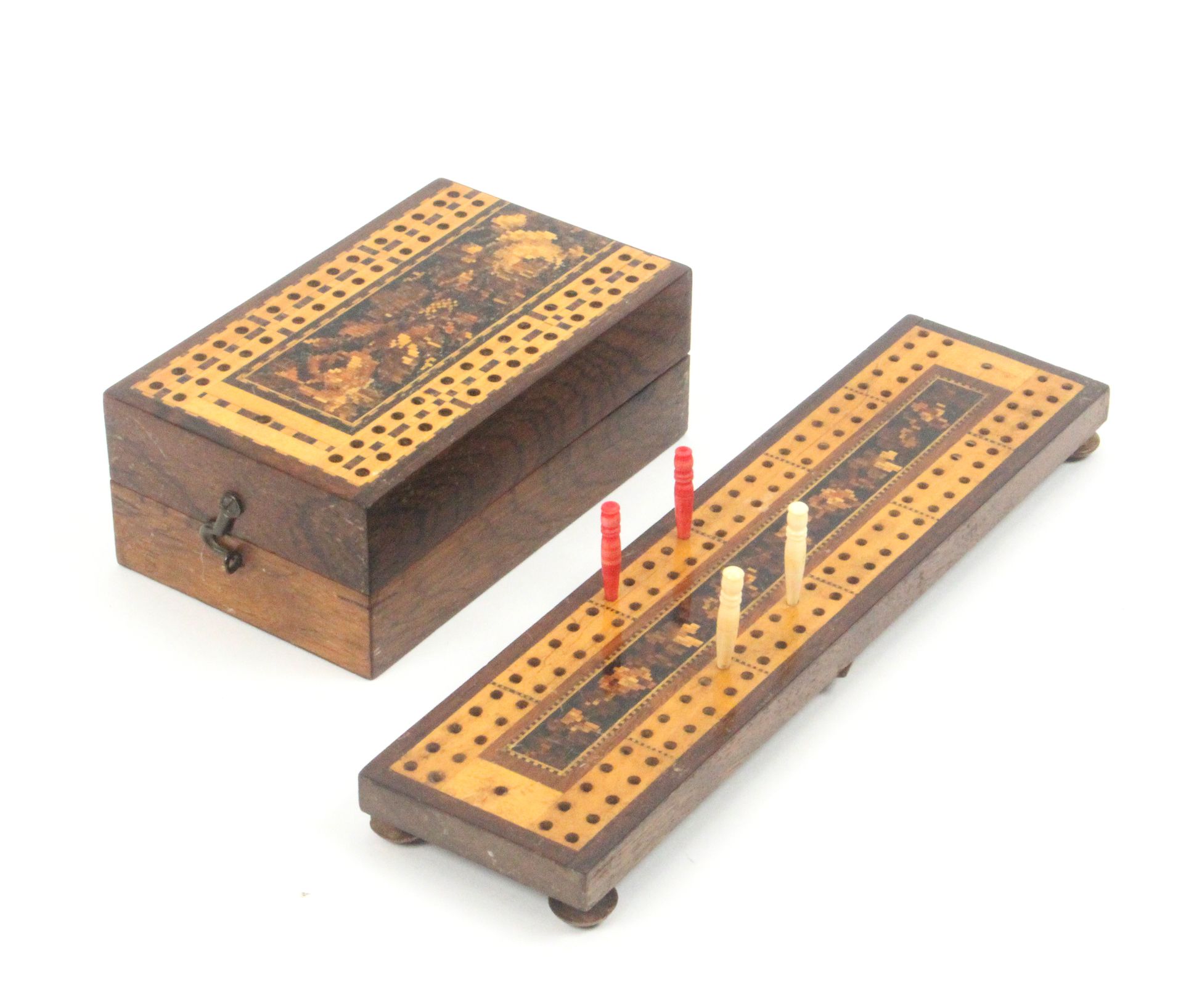 Lot 37 - A Tunbridge ware rosewood card box and a cribbage board, the fist of hinged rectangular form with