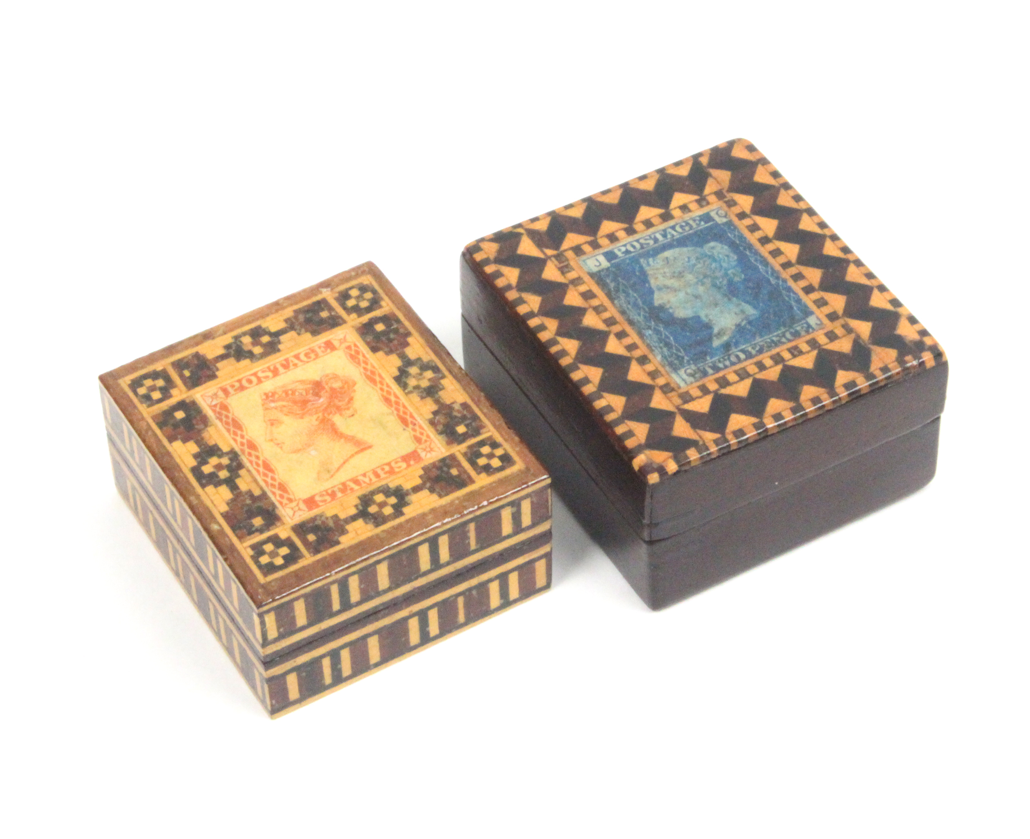 Two Tunbridge ware stamp boxes comprising a rosewood example the lid with two pence blue stamp