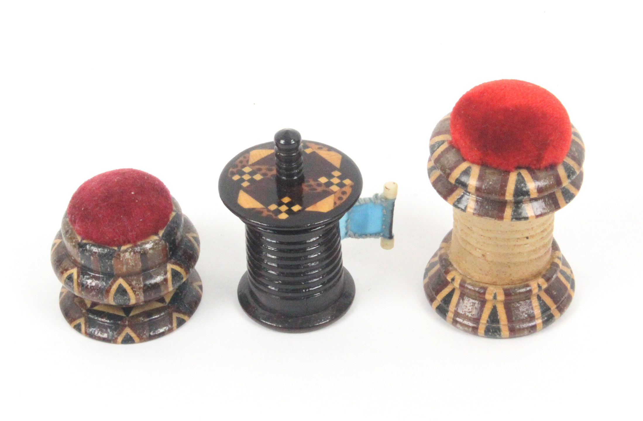 Tunbridge ware - sewing - three pieces, comprising a rosewood cylinder tape measure with overhanging