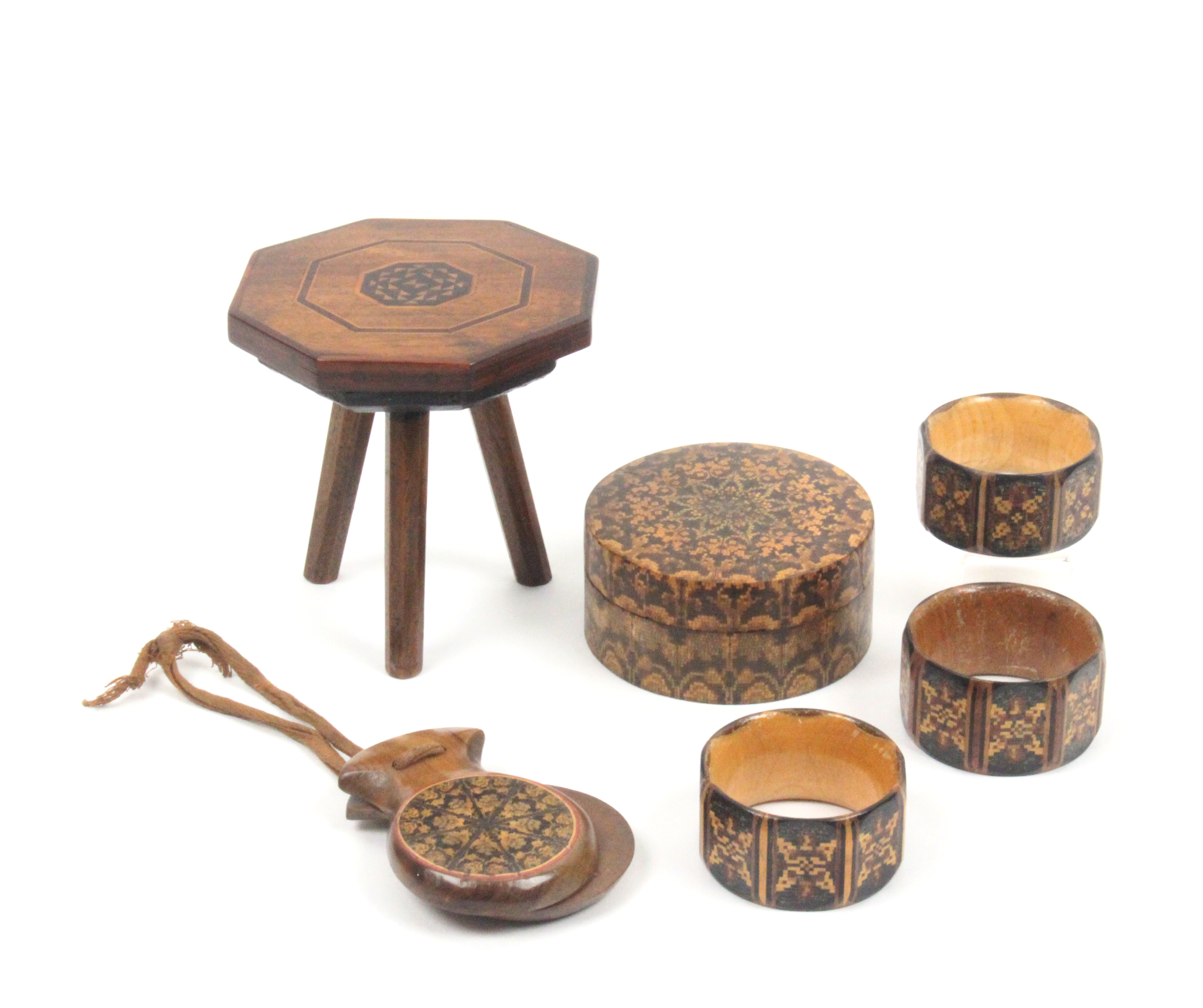 Tunbridge ware and associated wares - six pieces comprising three Tunbridge ware napkin rings of
