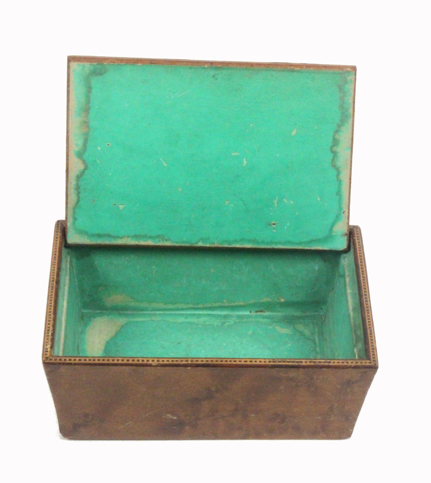 A Tunbridge ware box of rectangular form, with angled burr veneered sides, the pin hinge lid with - Image 2 of 2