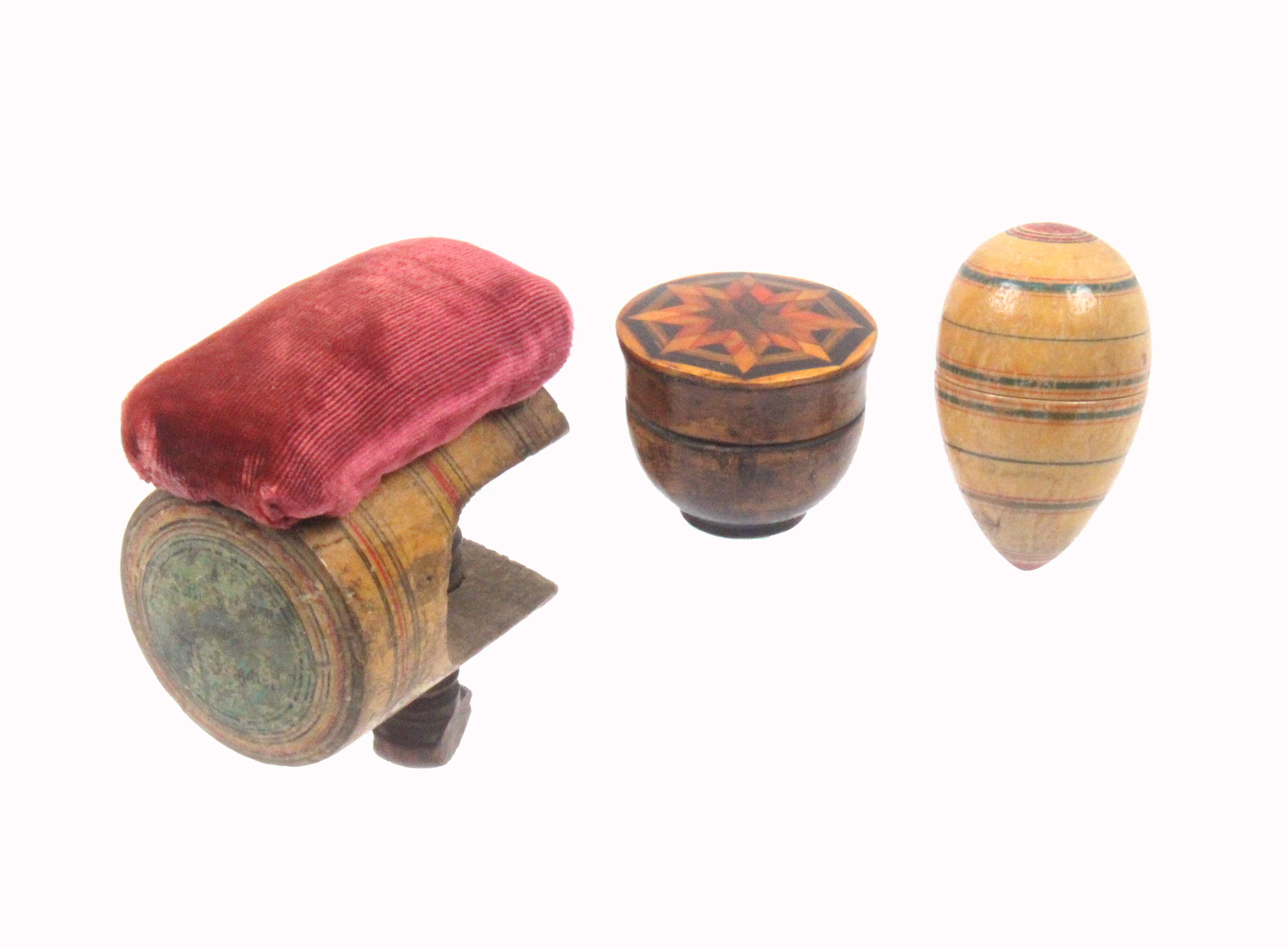 Lot 42 - Tunbridge ware - sewing - three pieces, comprising a whitewood cylinder clamp with pin cushion top