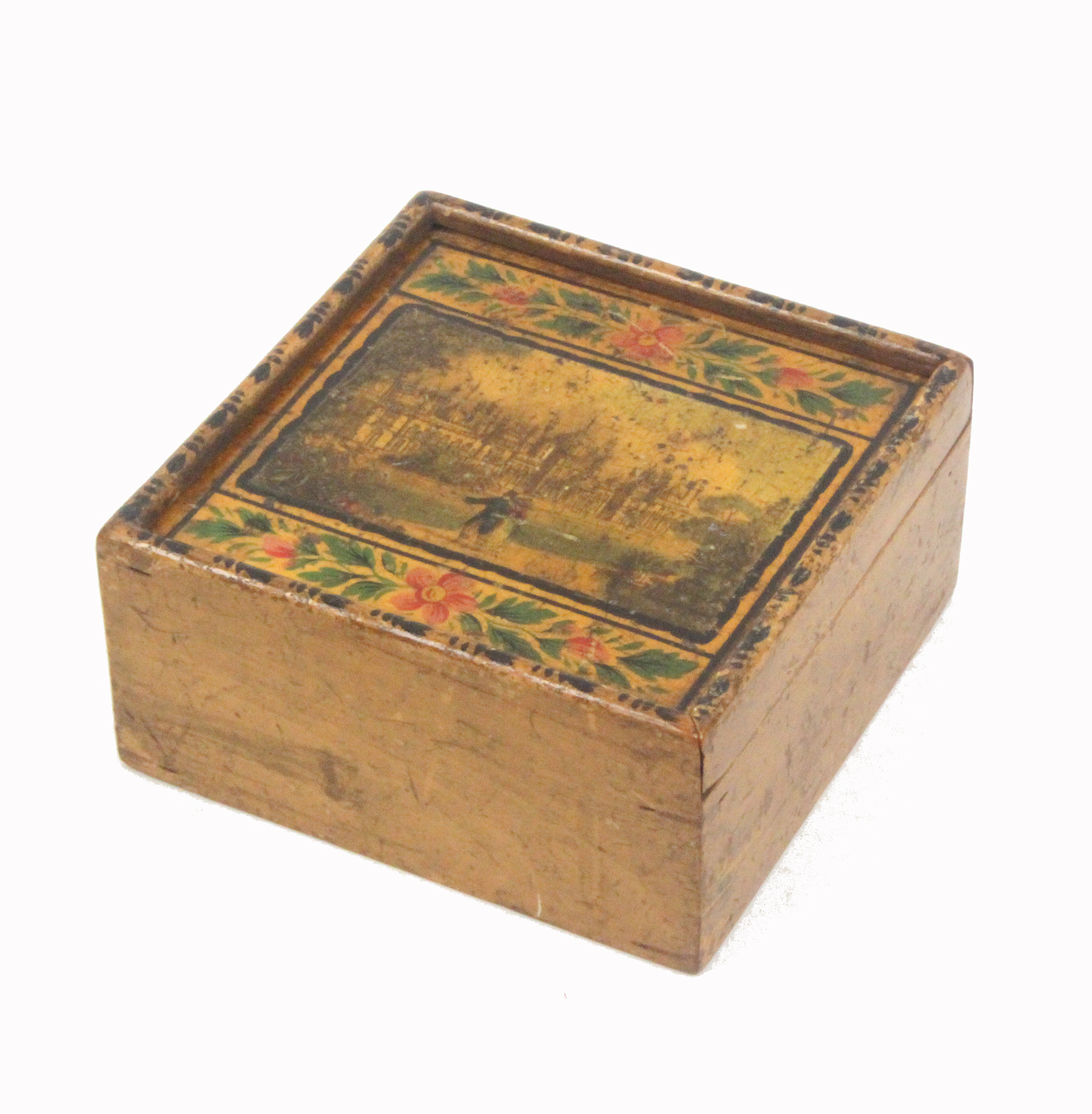 An early painted and print decorated Tunbridge ware whitewood box, the sliding lid with a colour