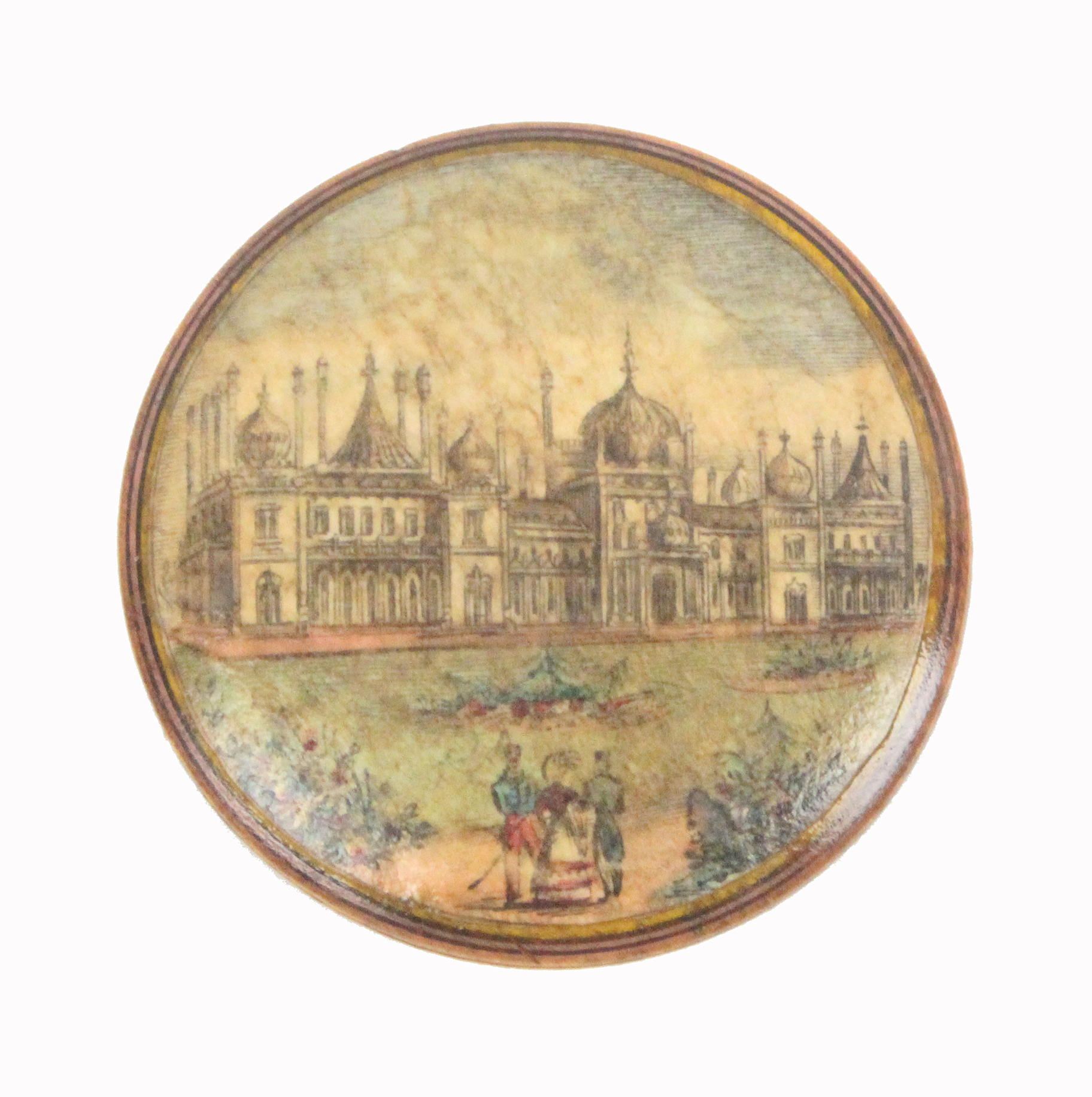 Lot 29 - An early print decorated Tunbridge ware white wood pin wheel one side with a colour print of the
