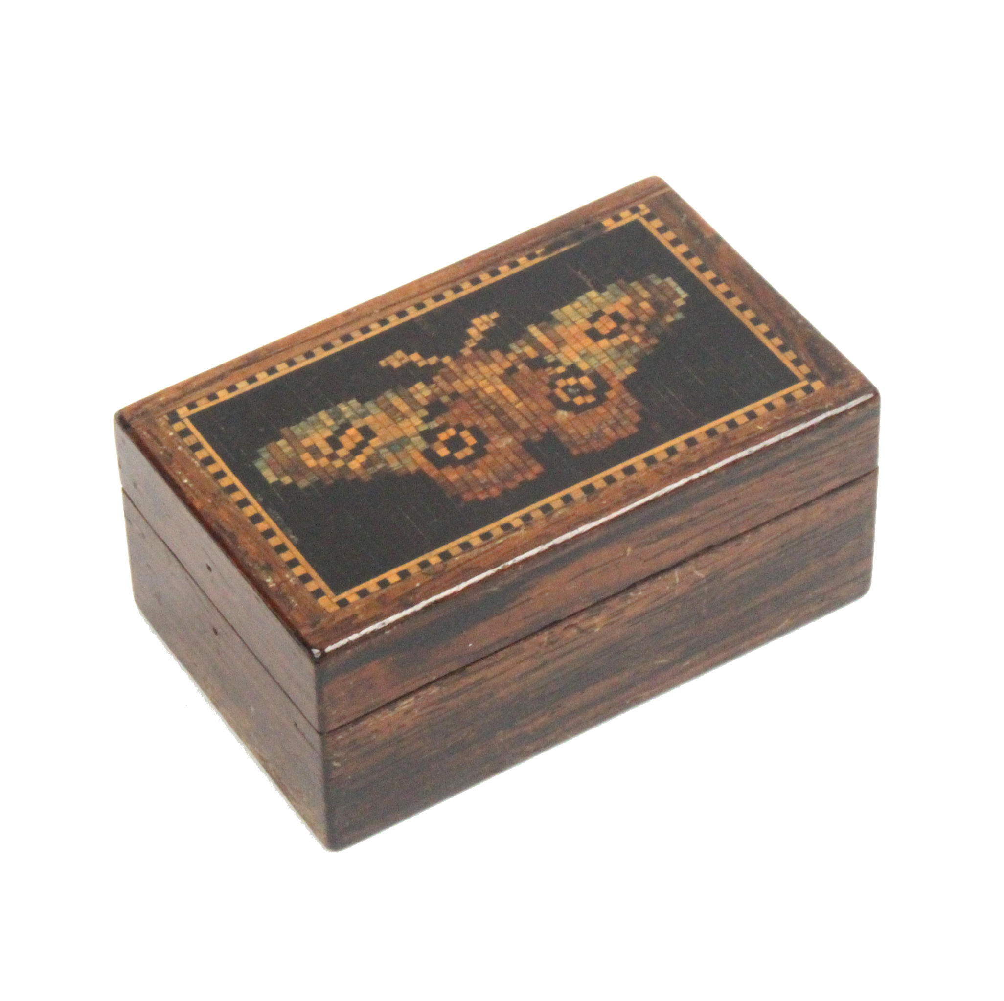 Lot 17 - A rosewood Tunbridge ware box of rectangular form the pull off lid with a mosaic panel of a