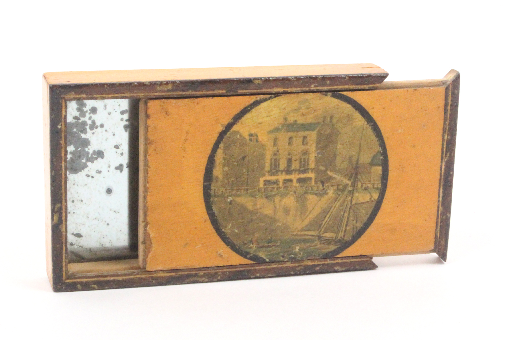 A rare and unusual print decorated early Tunbridge ware travelling mirror by Wise the rectangular