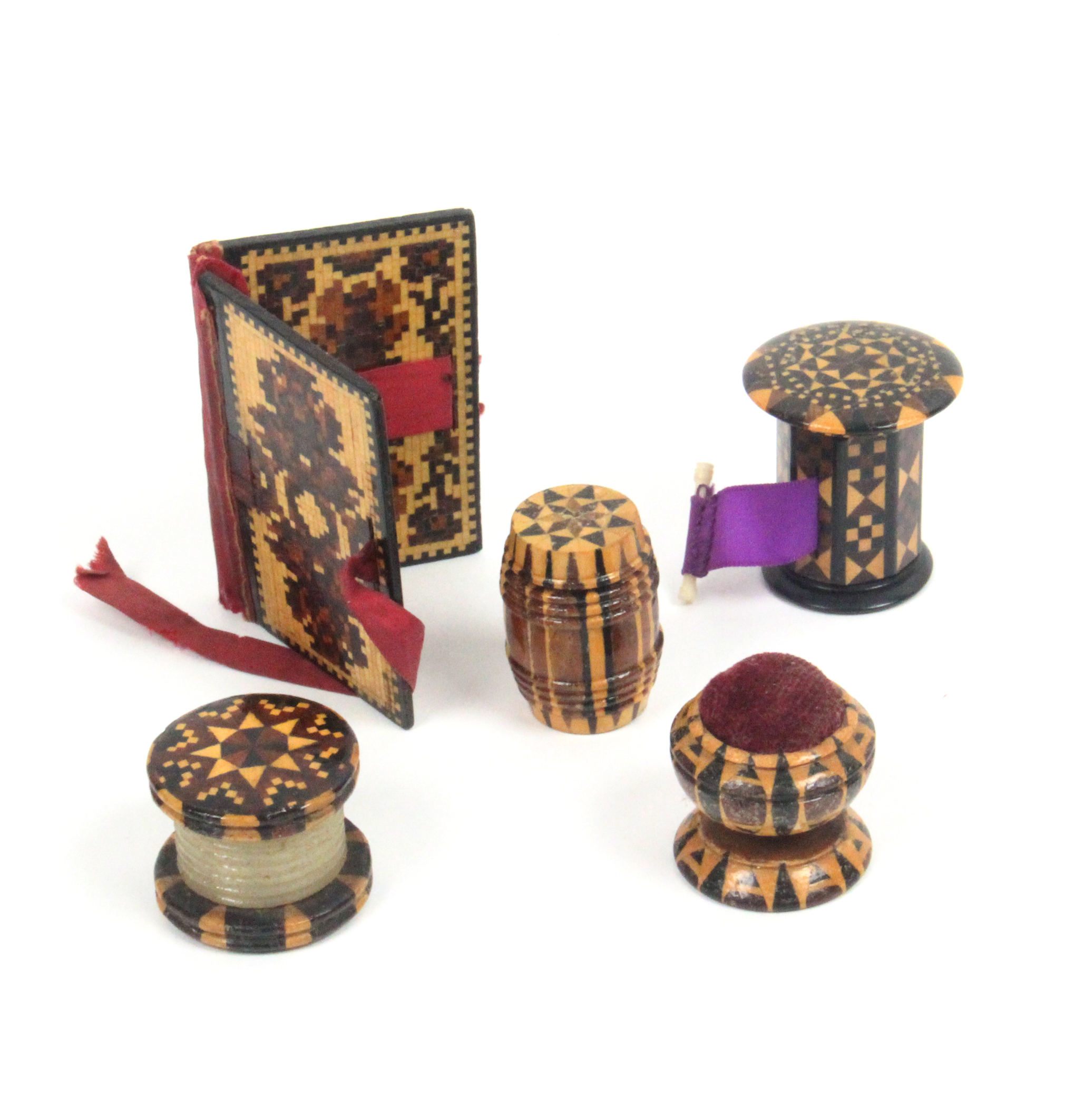 Tunbridge ware - sewing - five pieces comprising an attractive stick ware tape measure with over