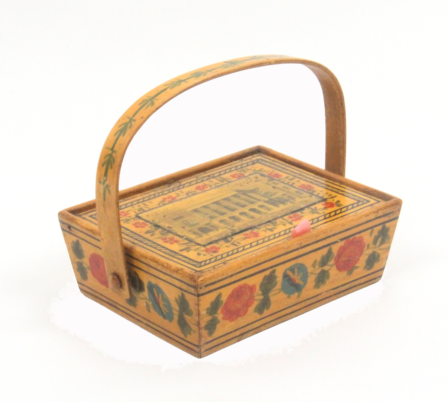 A rare print and paint decorated early Tunbridge ware whitewood child's sewing pannier, probably