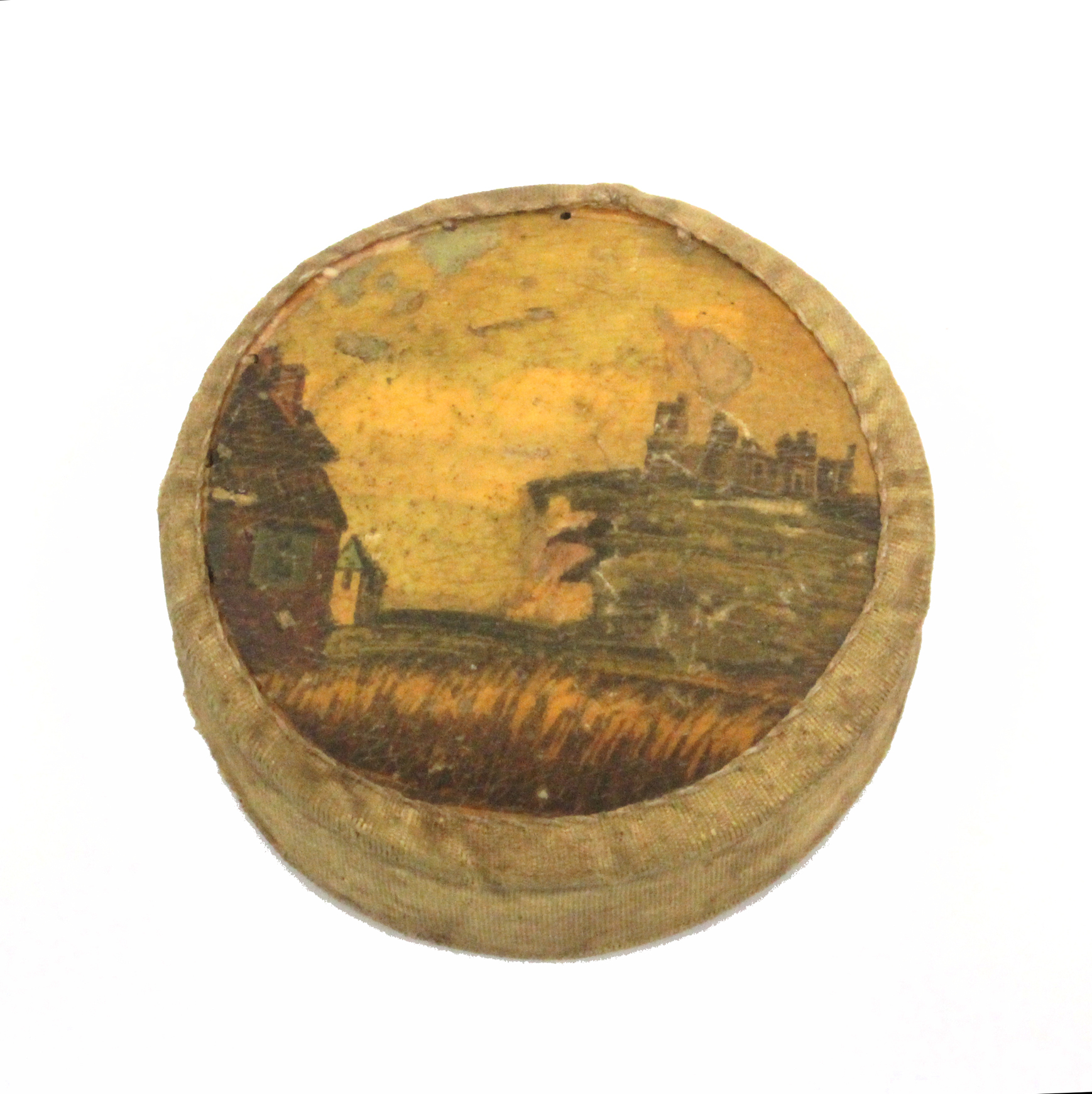 Lot 1 - A rare Tunbridge ware print decorated disc form pin cushion , one side with a map of the coast