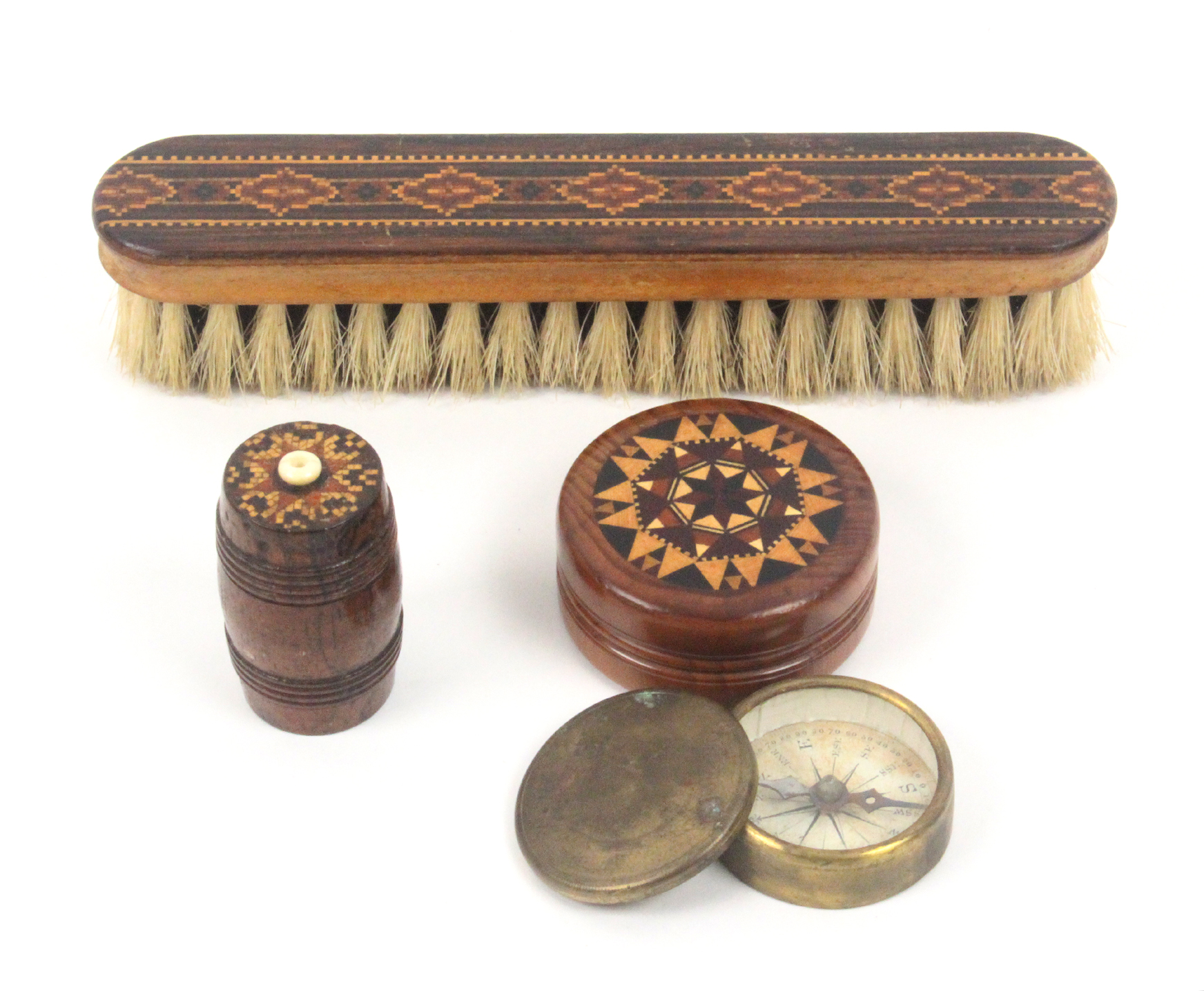 Tunbridge ware - three pieces, comprising an attractive turned yew wood circular box the lid with