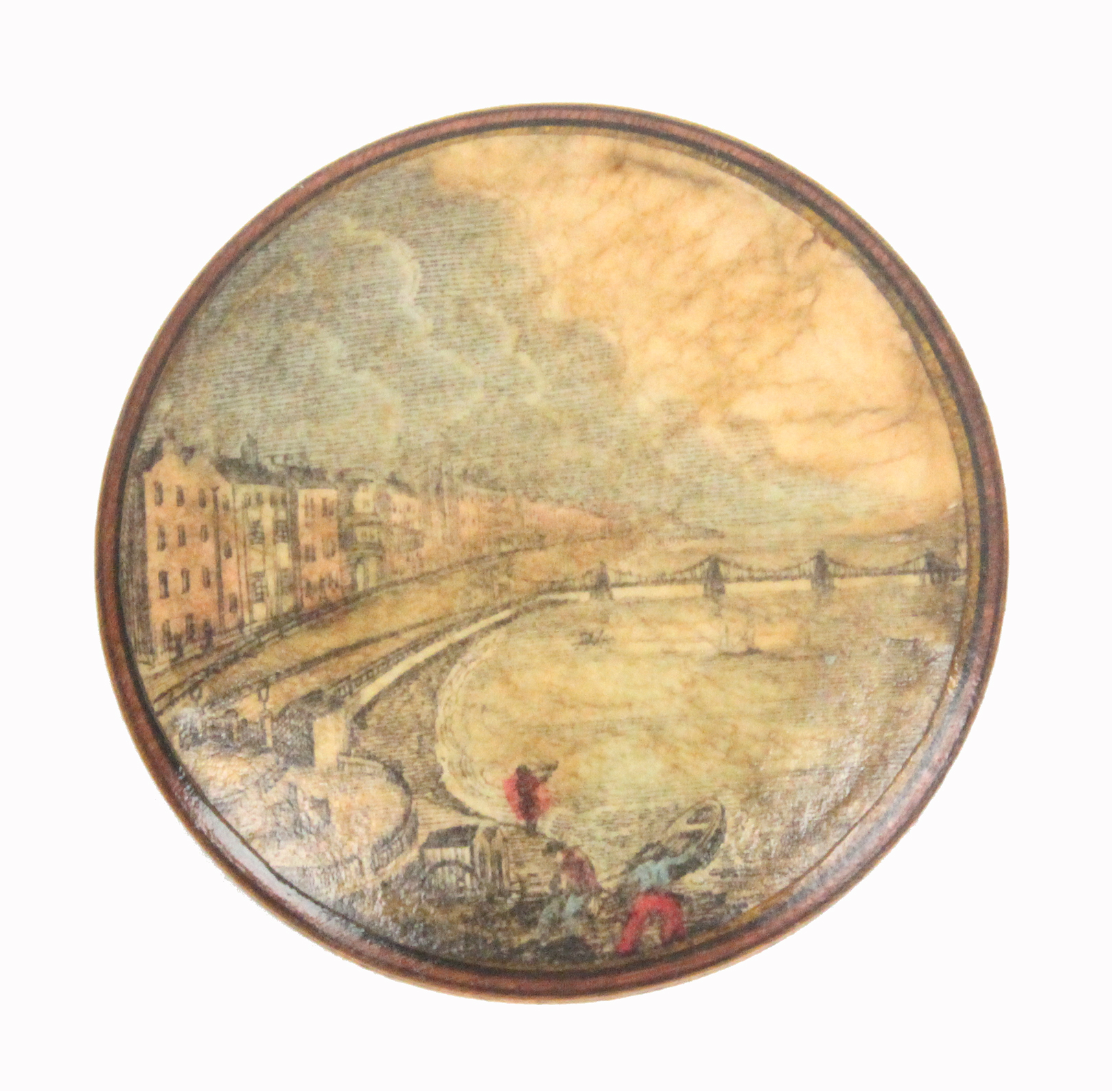 An early print decorated Tunbridge ware white wood pin wheel one side with a colour print of the