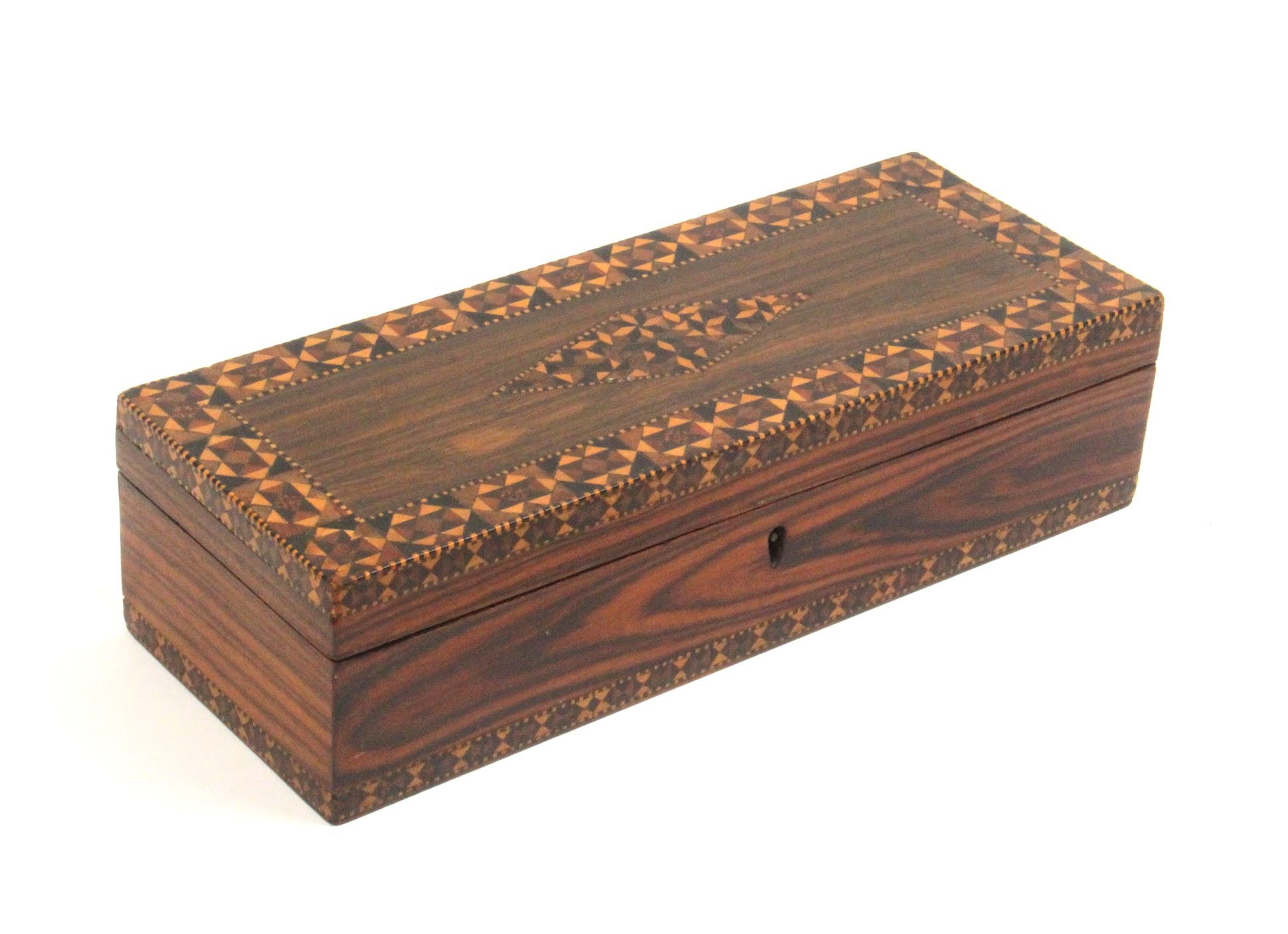 Lot 10 - A Tunbridge ware rosewood rectangular box, the hinged lid with a diamond panel of stickware within