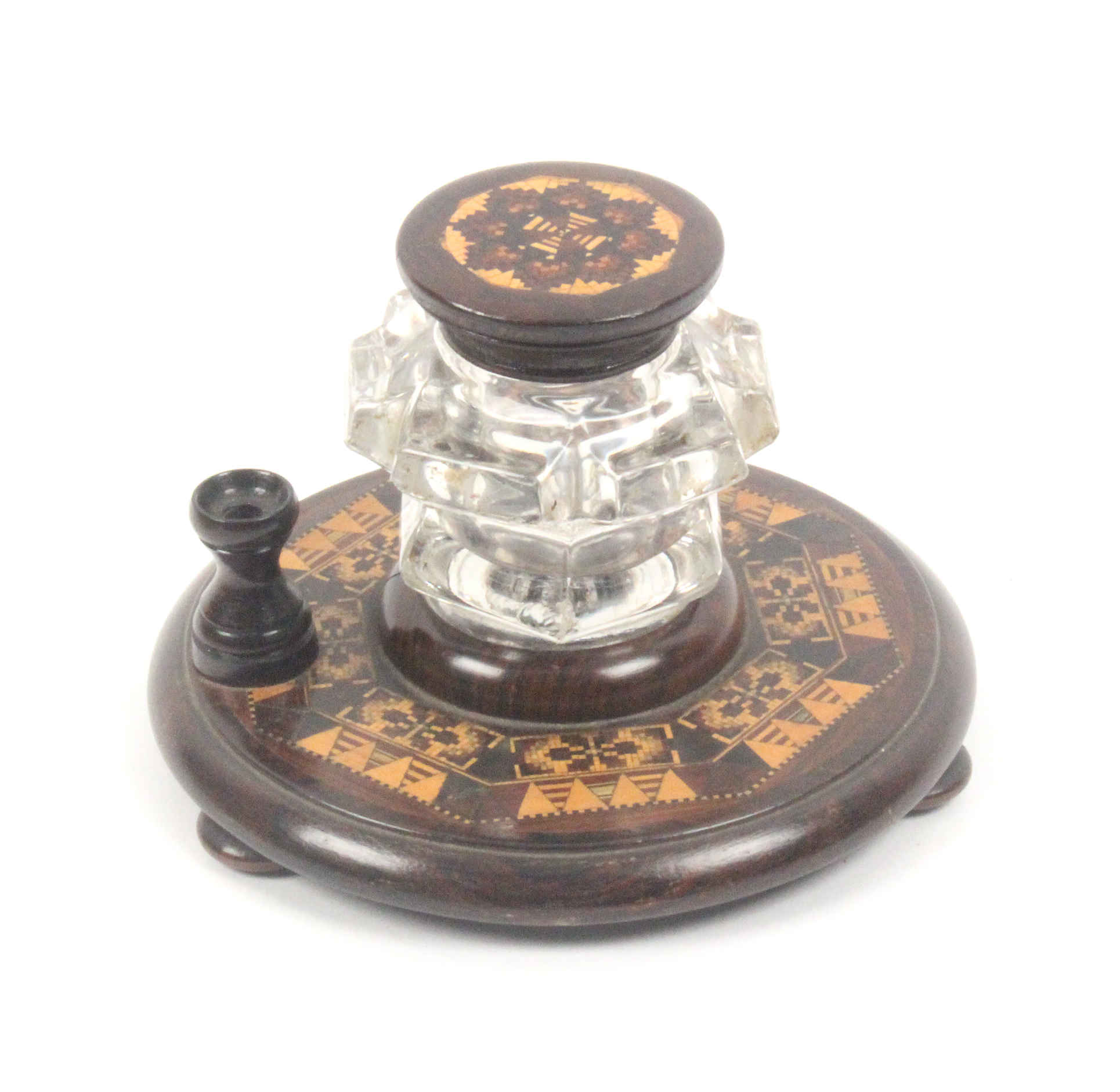 Lot 36 - A Tunbridge ware ink stand, the circular base on three bun feet with an octagonal band of mosaic and