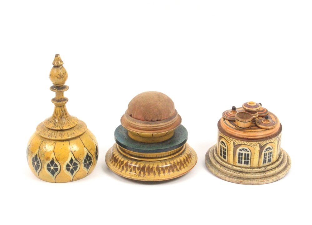 Lot 23 - A good early 19th painted Tunbridge ware sewing compendium in the form of a Brighton Pavilion