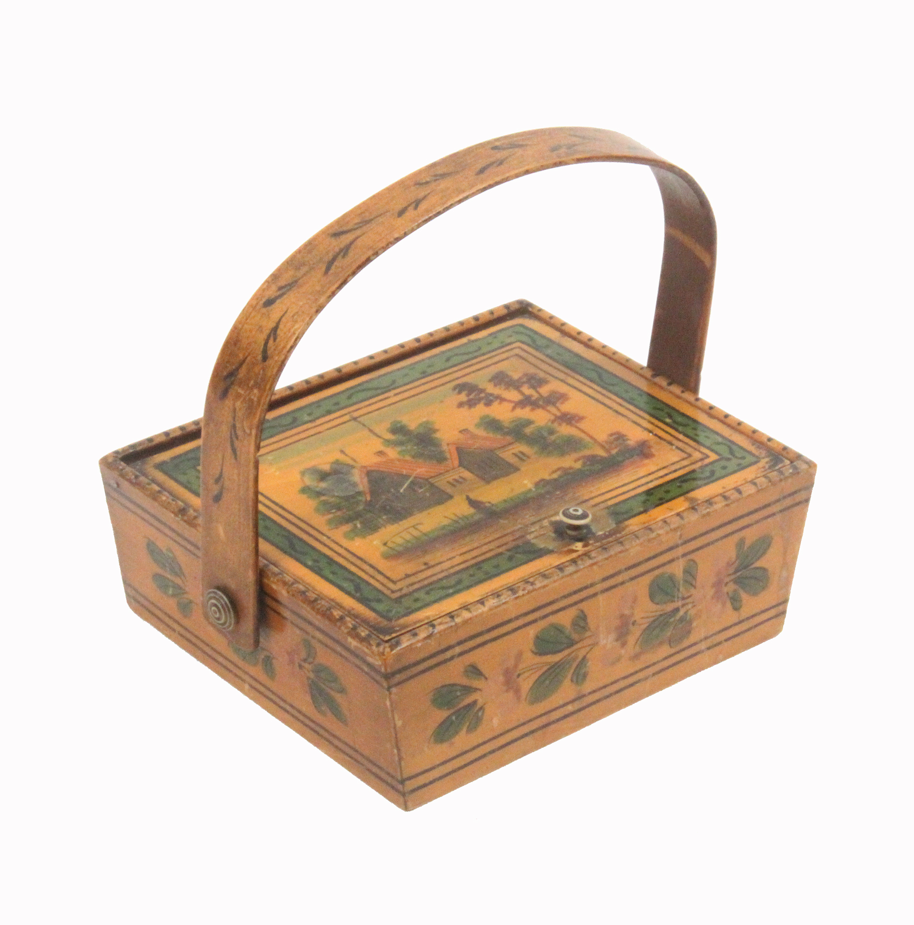 An early 19th Century whitewood sewing pannier in the Tunbridge style, the angled sides painted with