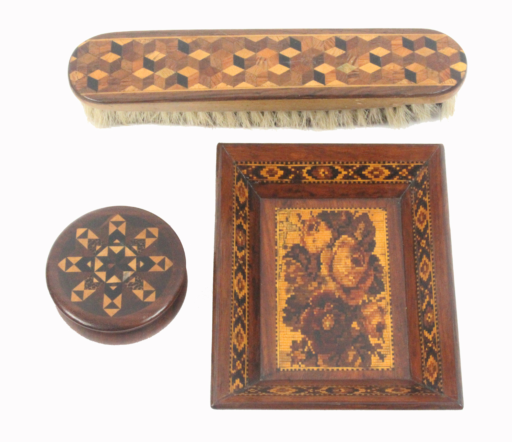 Tunbridge ware - three pieces, comprising a rectangular card tray with floral mosaic centre within a