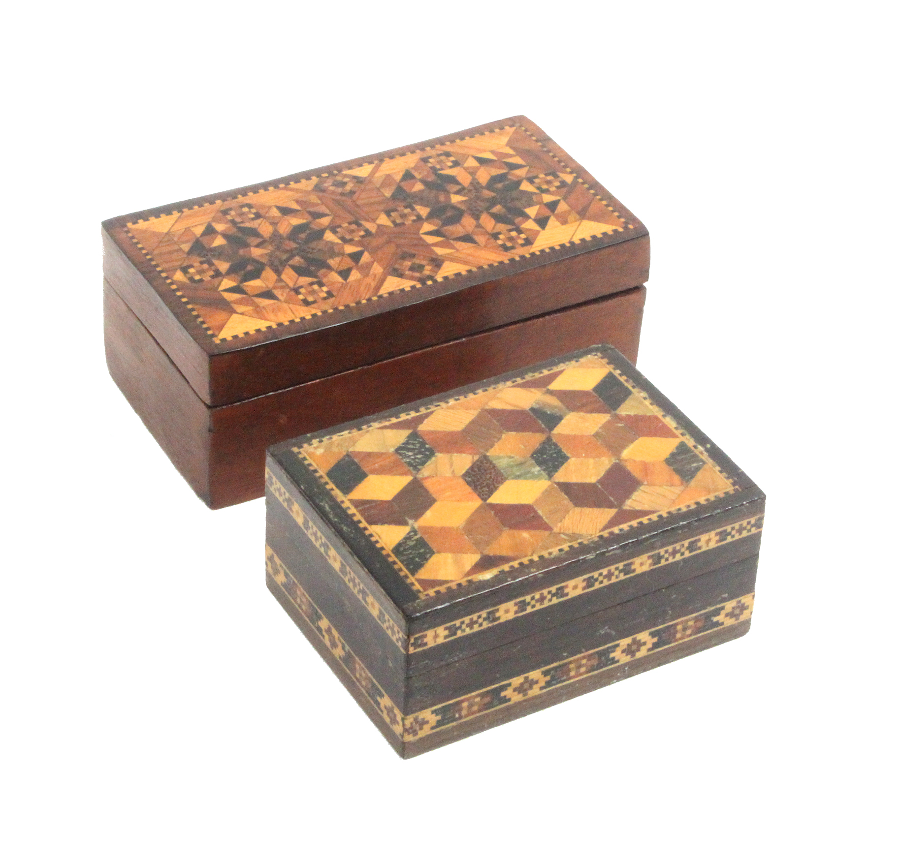 Two Tunbridge ware rectangular boxes both with lift off lids, one with a lid panel of stick ware,