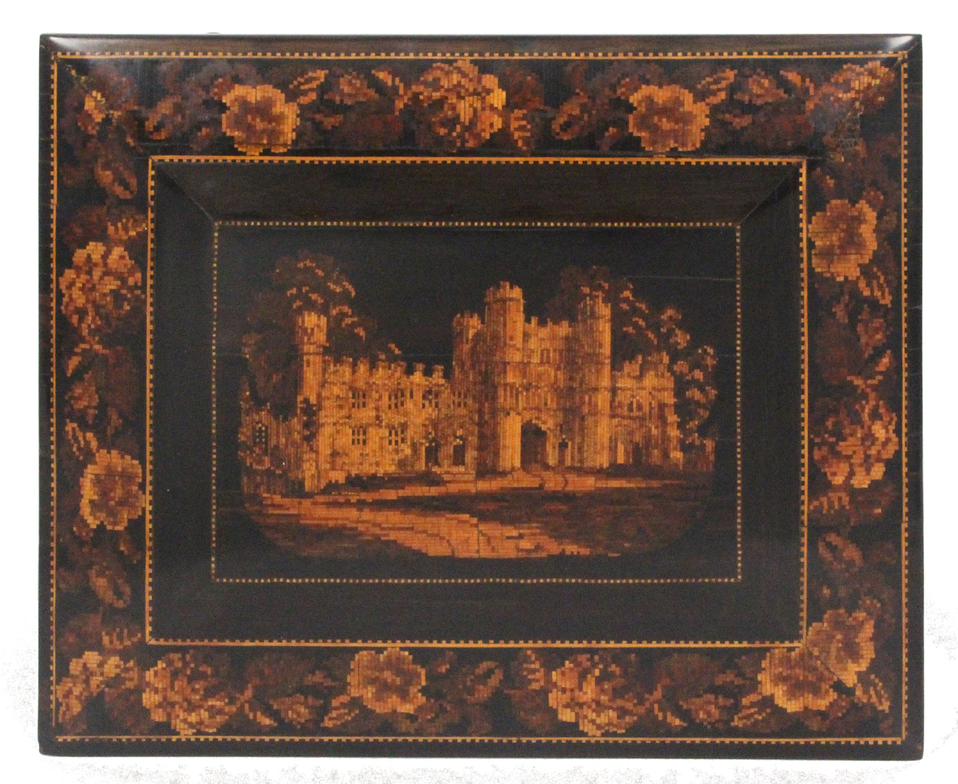 Lot 4 - A Tunbridge ware sewing casket in coromandel wood and mosaic, probably by Thomas Barton, the cushion