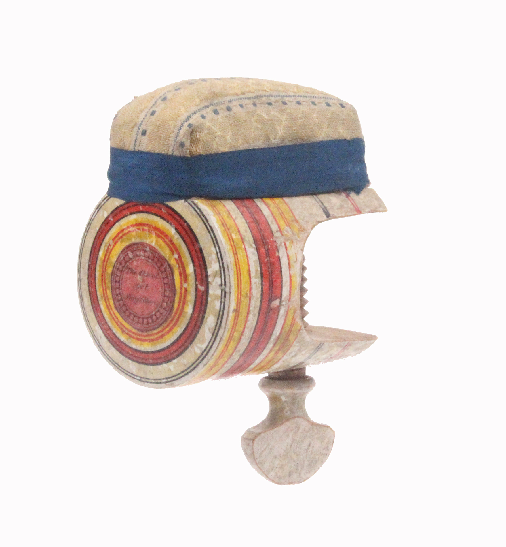Lot 32 - A painted Tunbridge ware sewing clamp, of cylinder form below a pin cushion top, the roundel painted