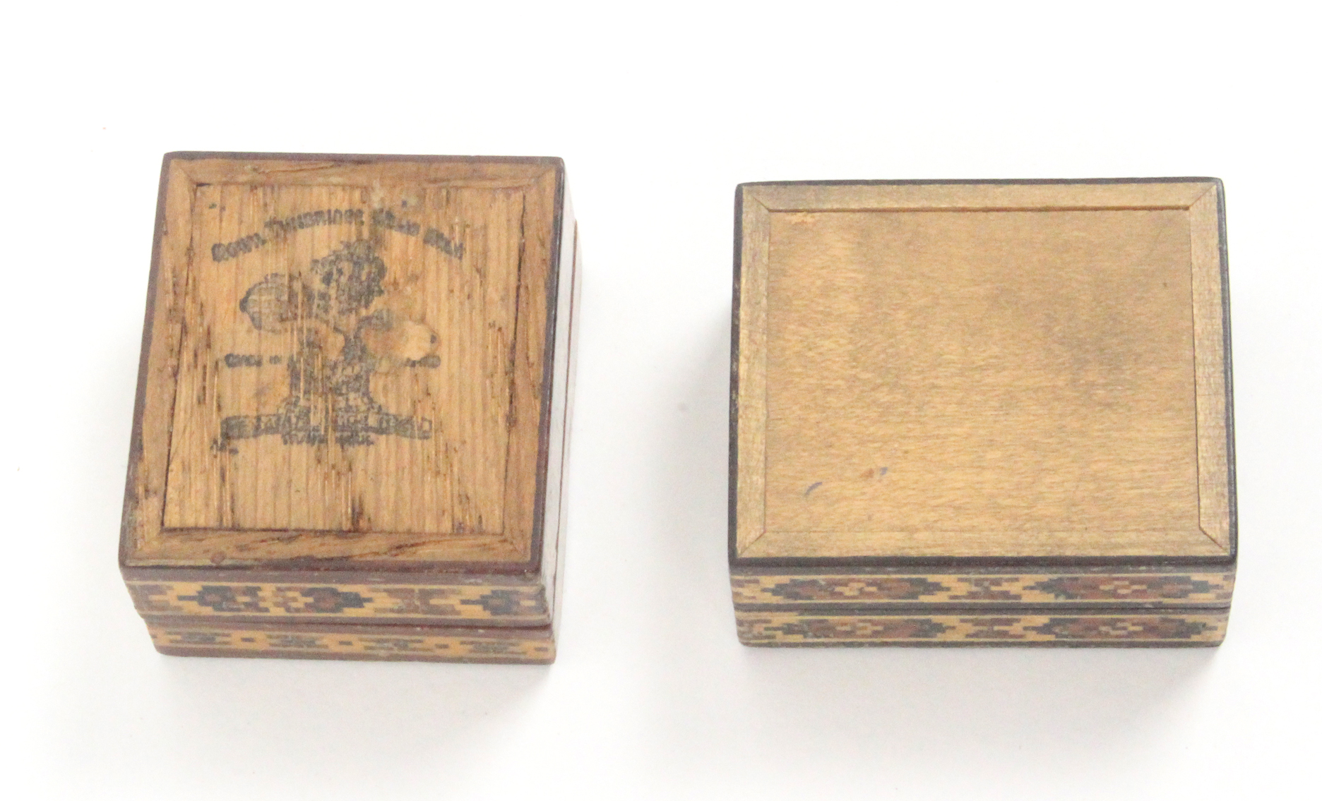 Tunbridge ware - two stamp boxes, both rectangular comprising an example titled to the lid in mosaic - Image 2 of 2