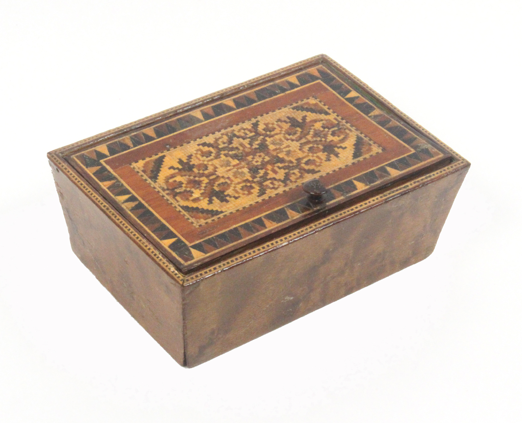 A Tunbridge ware box of rectangular form, with angled burr veneered sides, the pin hinge lid with