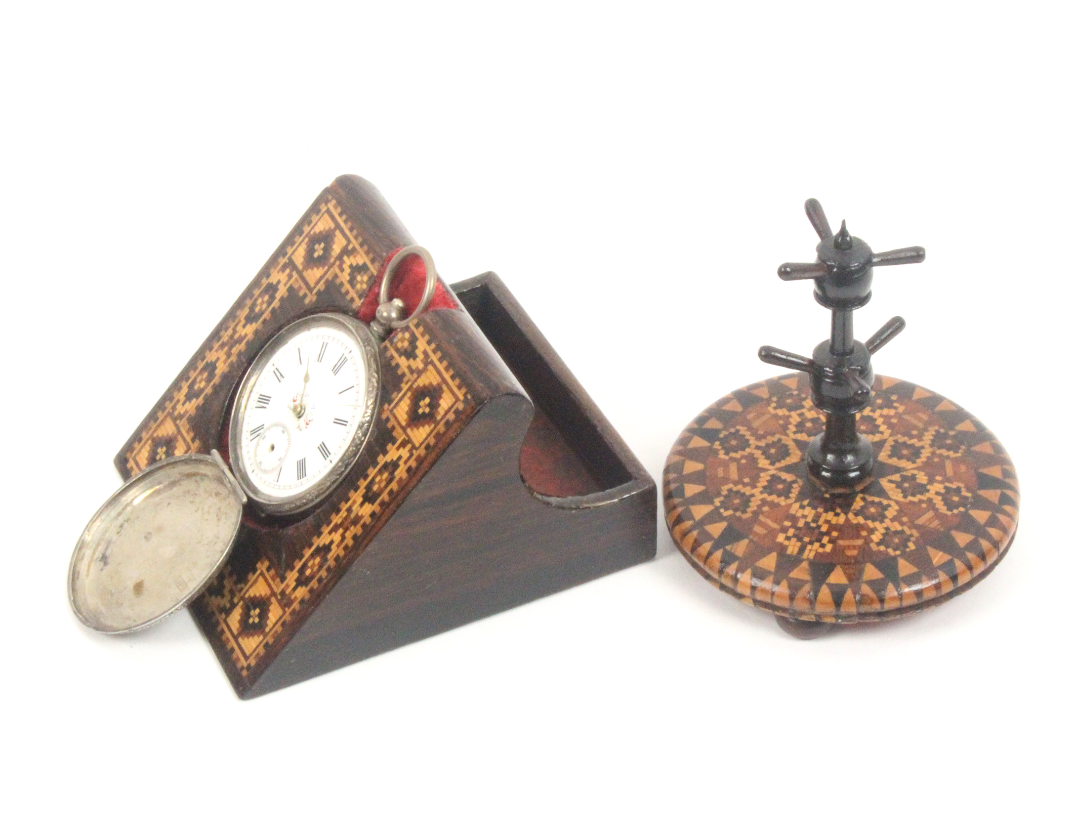 A Tunbridge ware watch stand and a ring stand, the first of angled form with a border of geometric - Image 3 of 3
