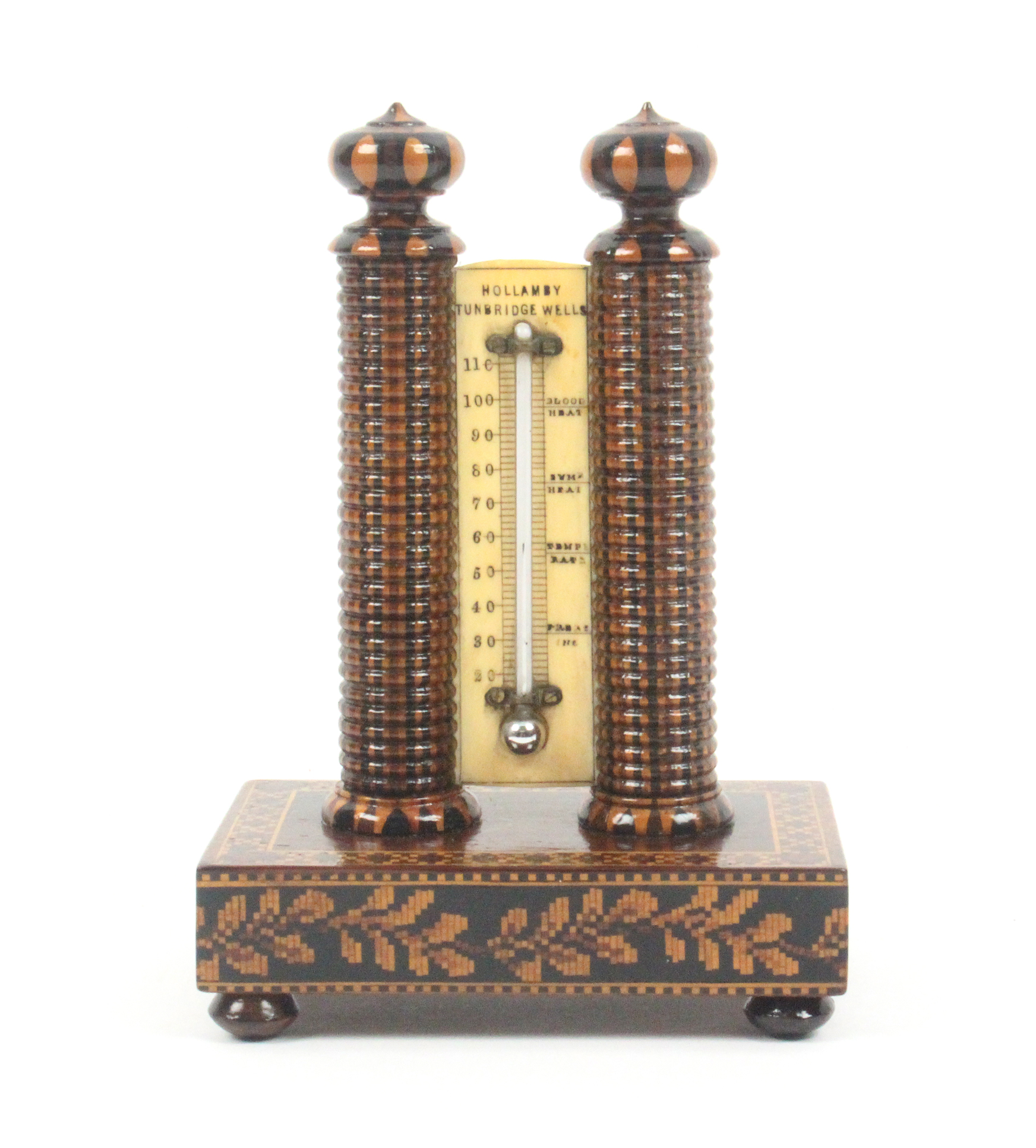 Lot 34 - A good Tunbridge ware thermometer stand, the ivory scale with mercury thermometer and inscribed '