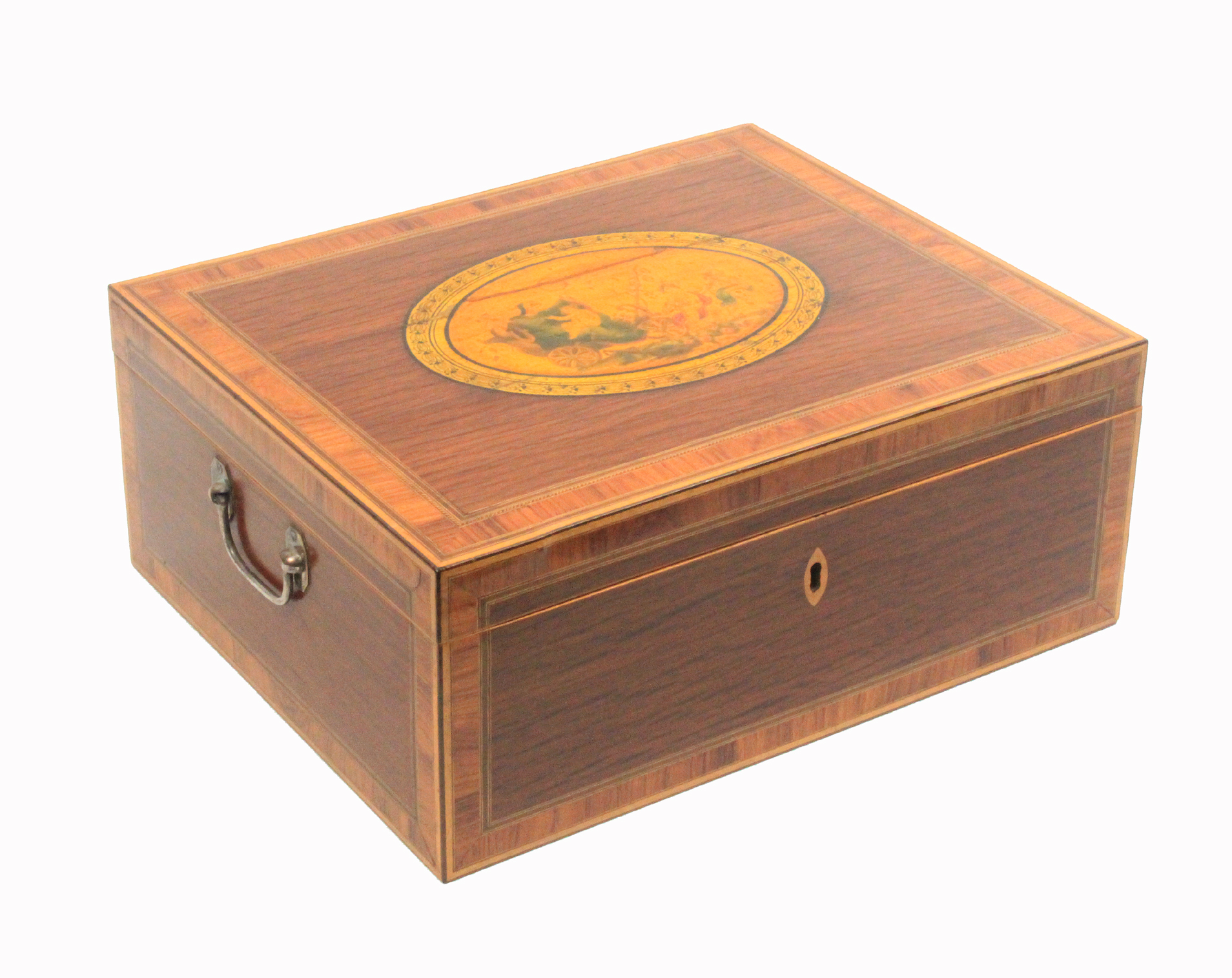 An early 19th century Tunbridge print decorated documentary sewing box of rectangular form