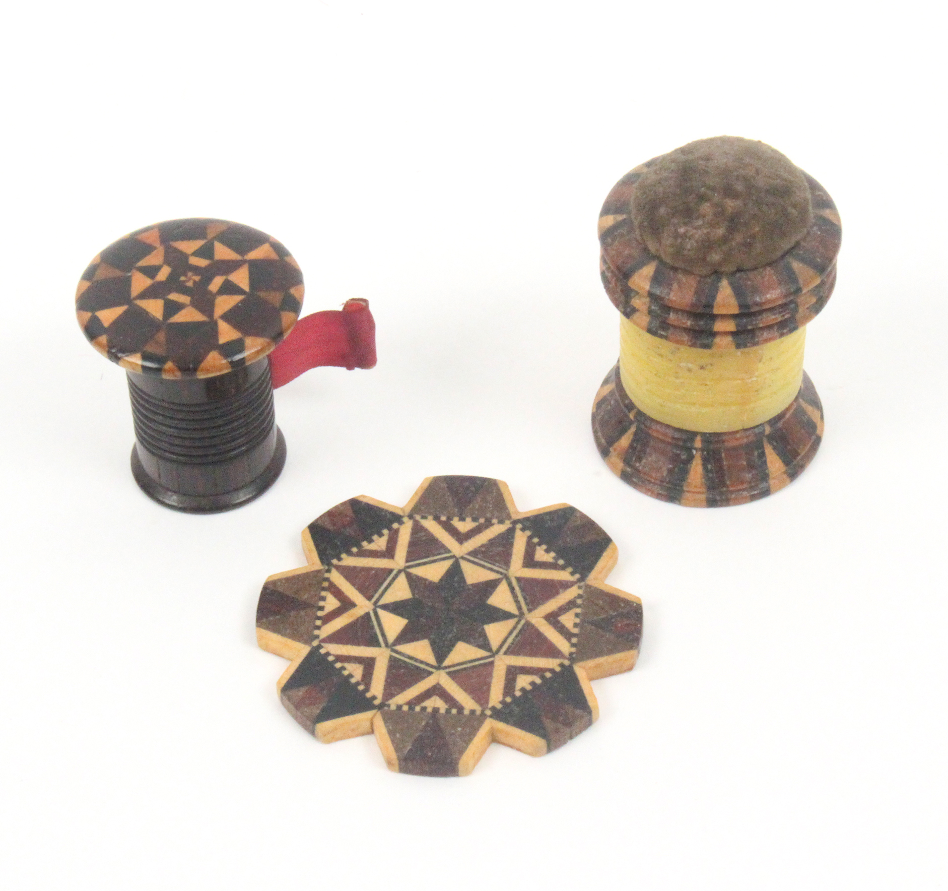 Tunbridge ware - sewing - three pieces, comprising a cylinder form combination pin cushion/waxer