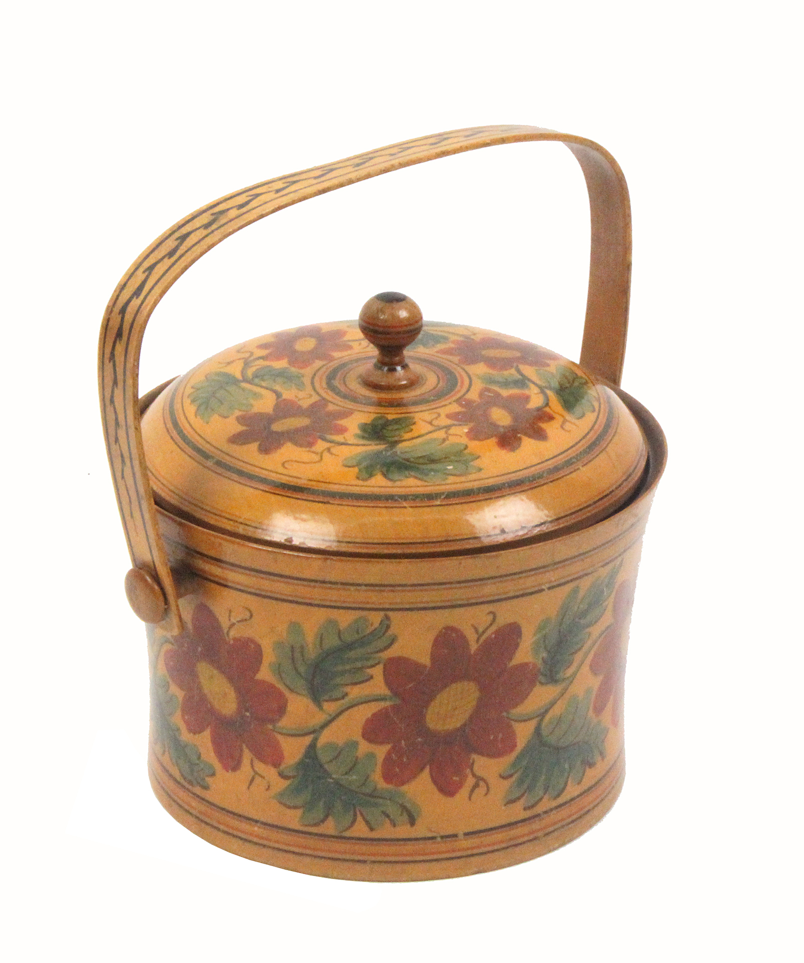 Lot 27 - A good early Tunbridge ware floral painted sewing pannier, of delicate turned form the swelling body