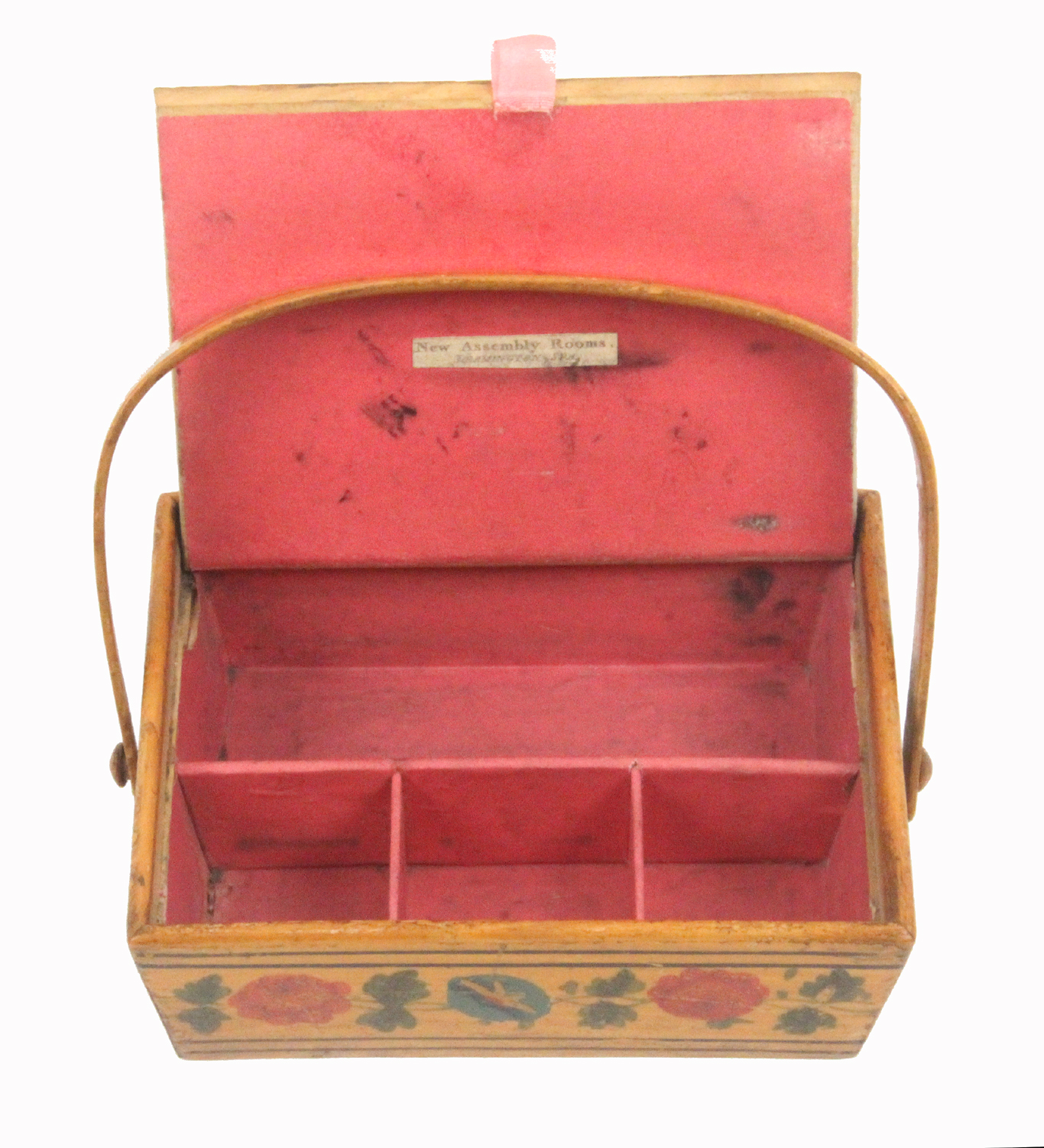 A rare print and paint decorated early Tunbridge ware whitewood child's sewing pannier, probably - Image 3 of 3
