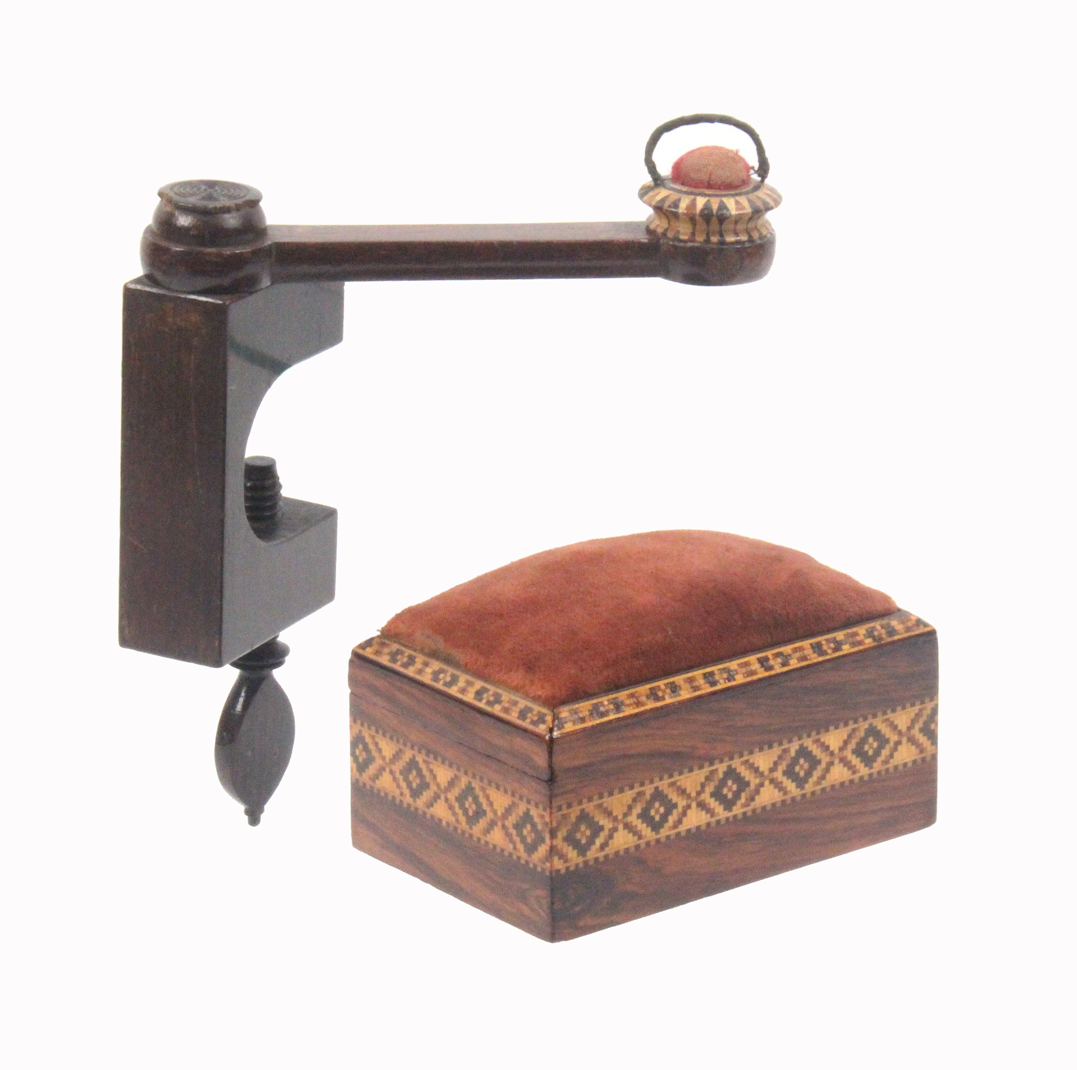 Tunbridge ware - sewing - two pieces, comprising a block form rosewood clamp with a swing arm