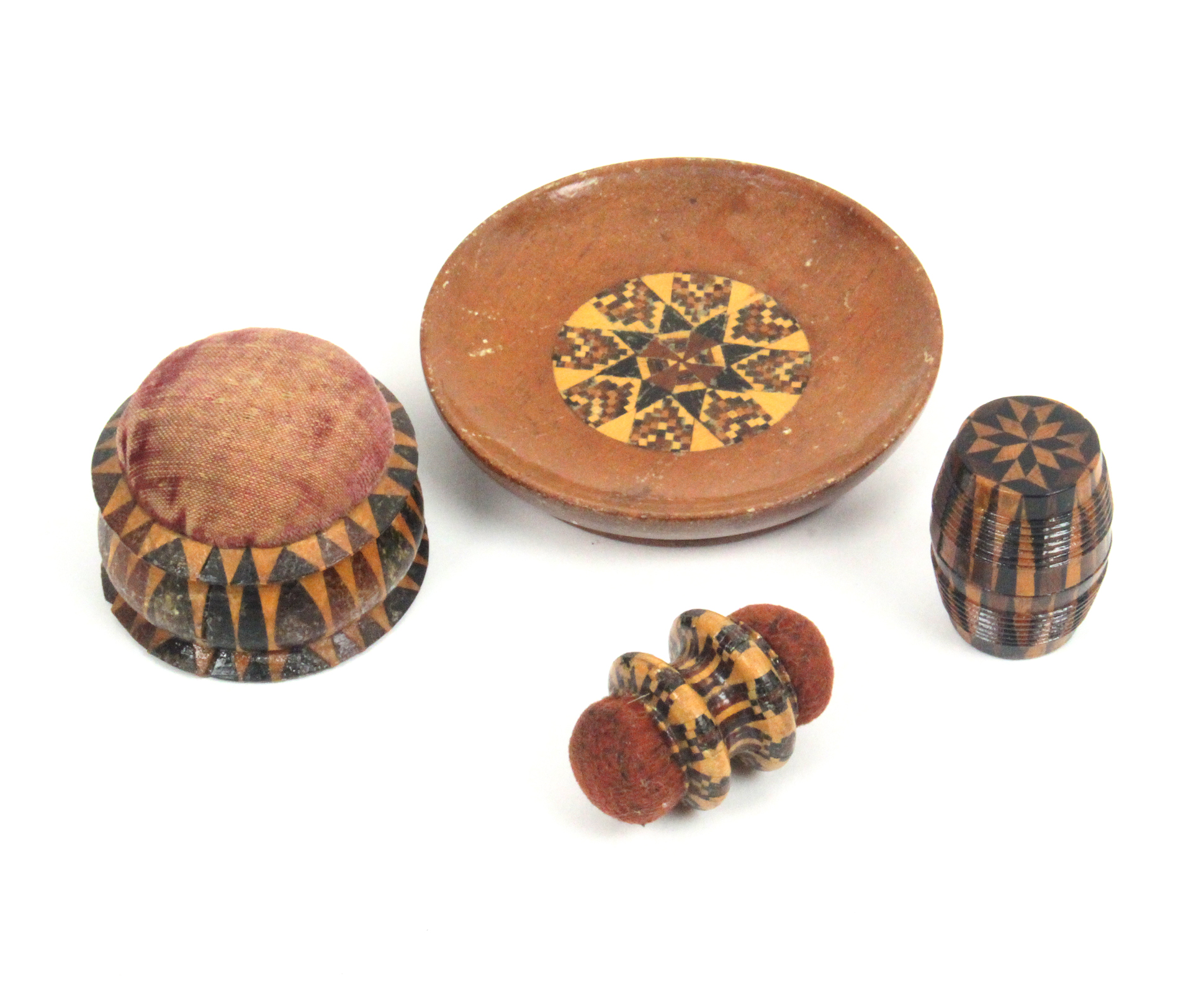 Tunbridge ware - sewing - four pieces comprising a rosewood pin dish with geometric mosaic panel,