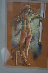 Lot 35 - Framed pastel of a nude