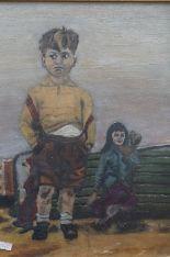 Lot 39 - Framed oil on board depicting girl & boy