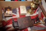 Lot 7 - Box to include vintage flag and scratch built tabl