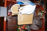 Lot 8 - Box of glass ware to include vintage lamp