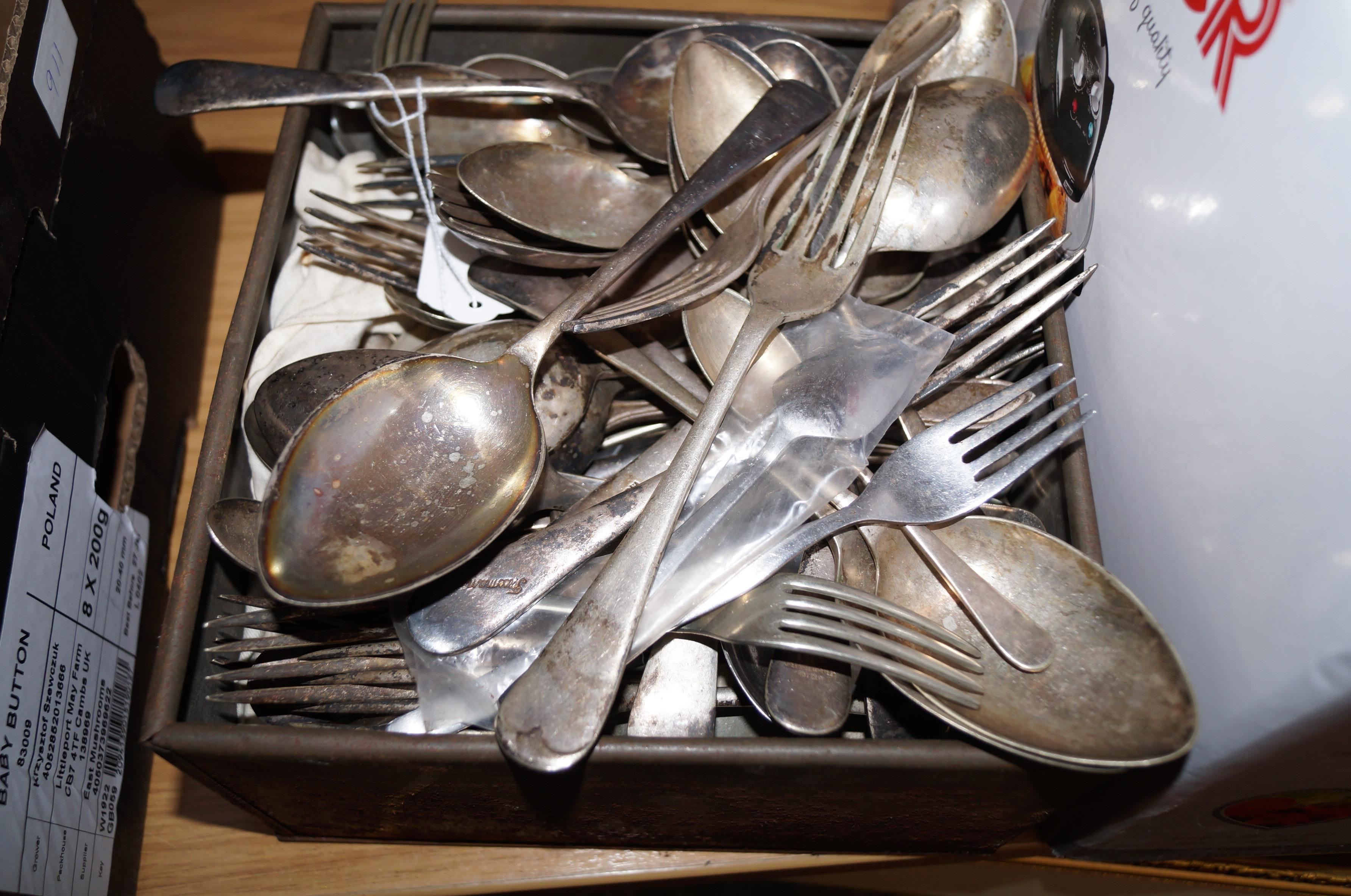 Lot 11 - Large assortment of plated flat ware