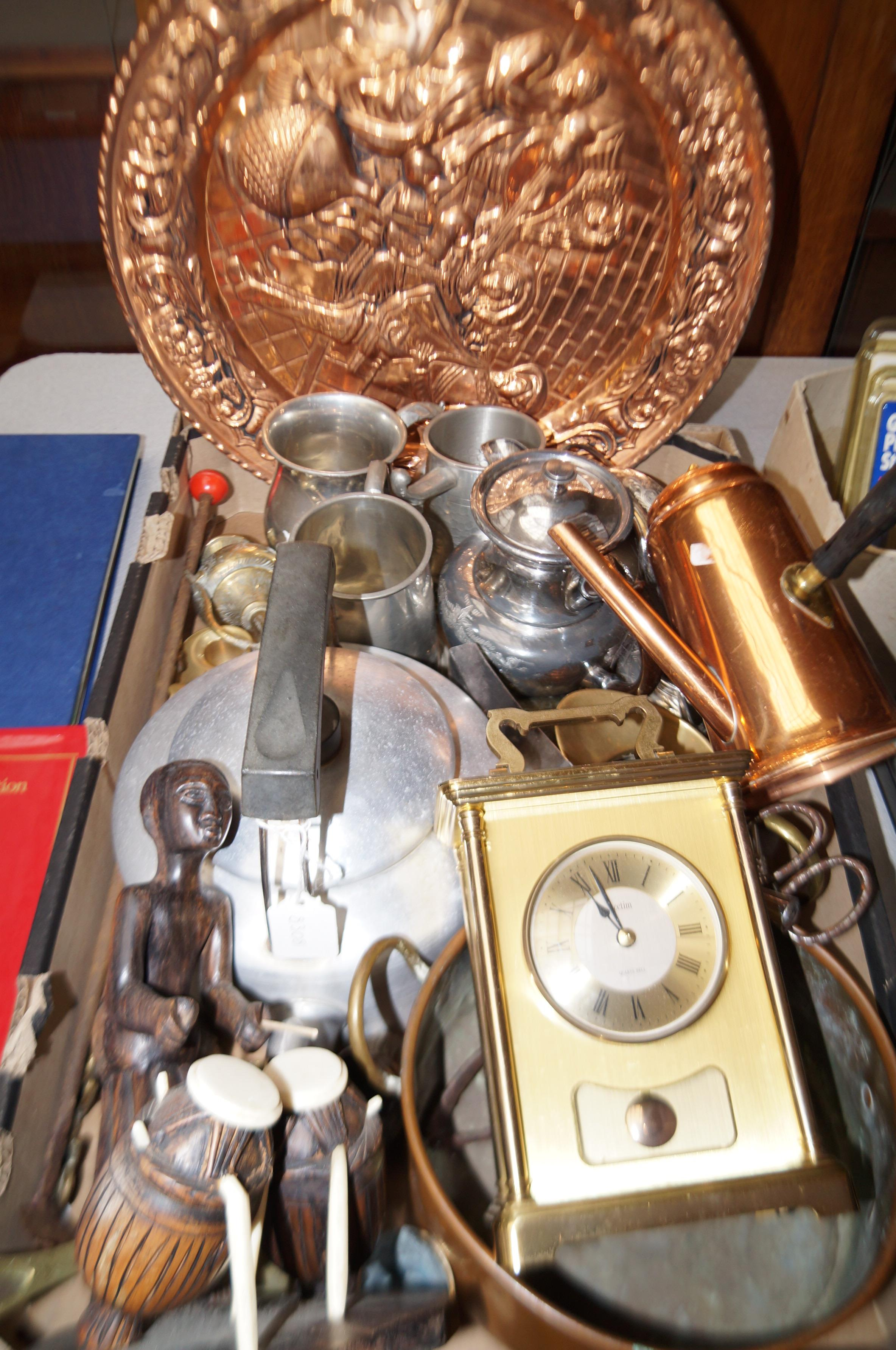 Lot 6 - Good group of metal ware to include chocolate pour
