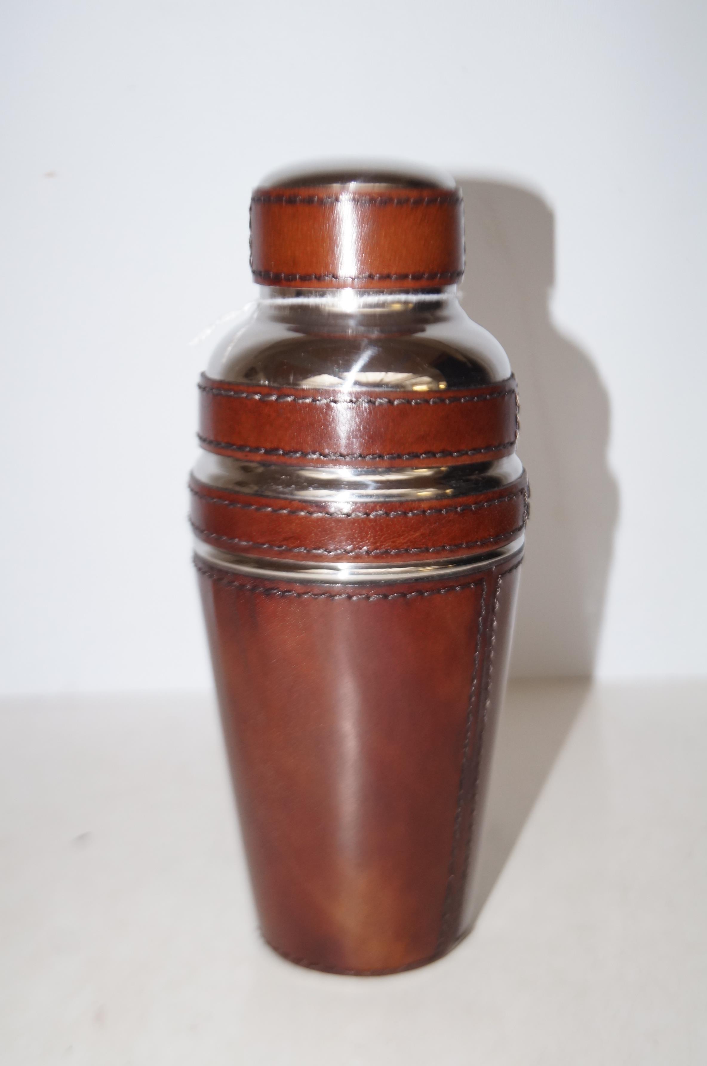 Lot 122 - Leather & chrome cocktail shaker