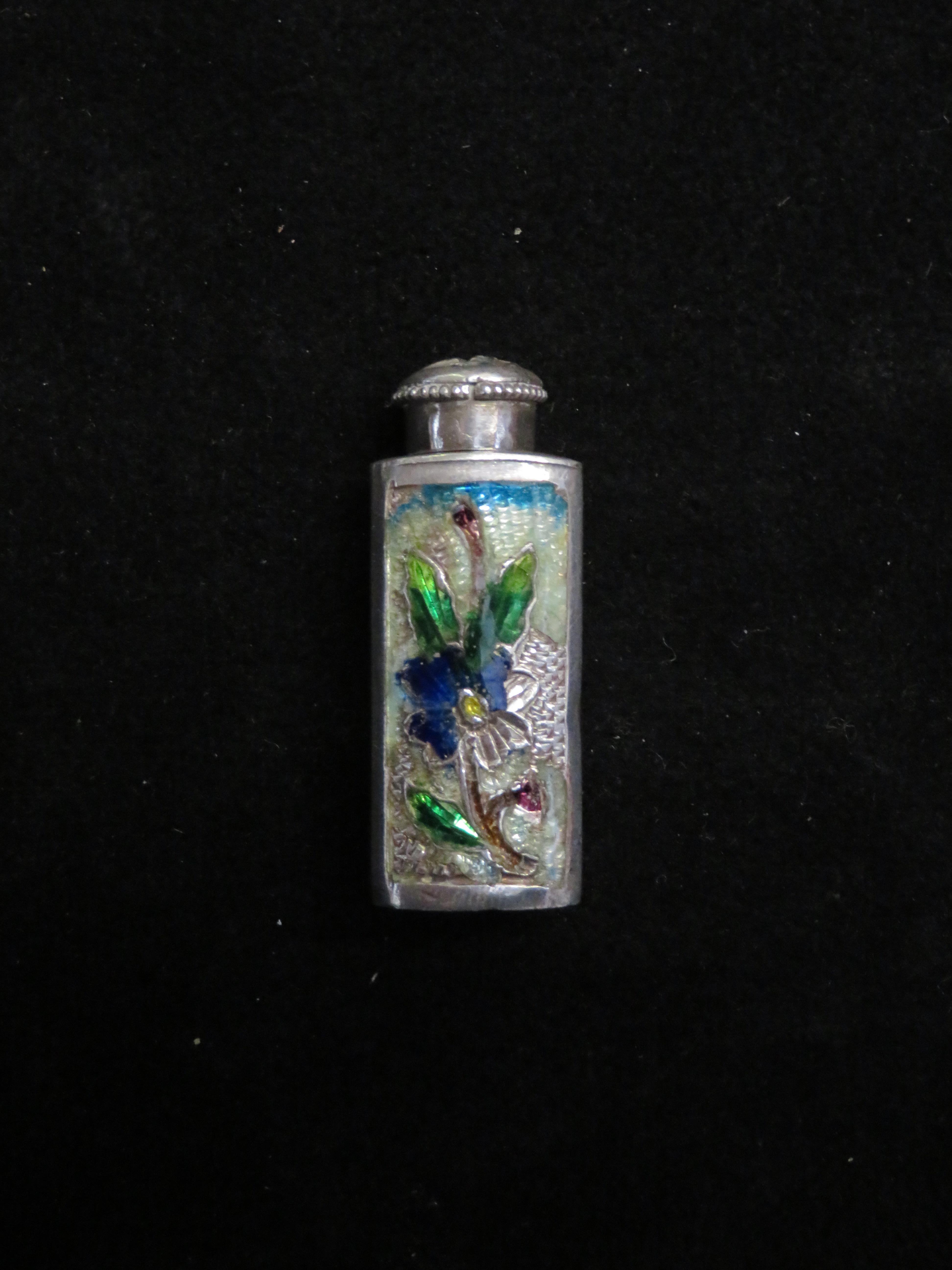 Lot 79 - German silver enamel bottle swastika on lid
