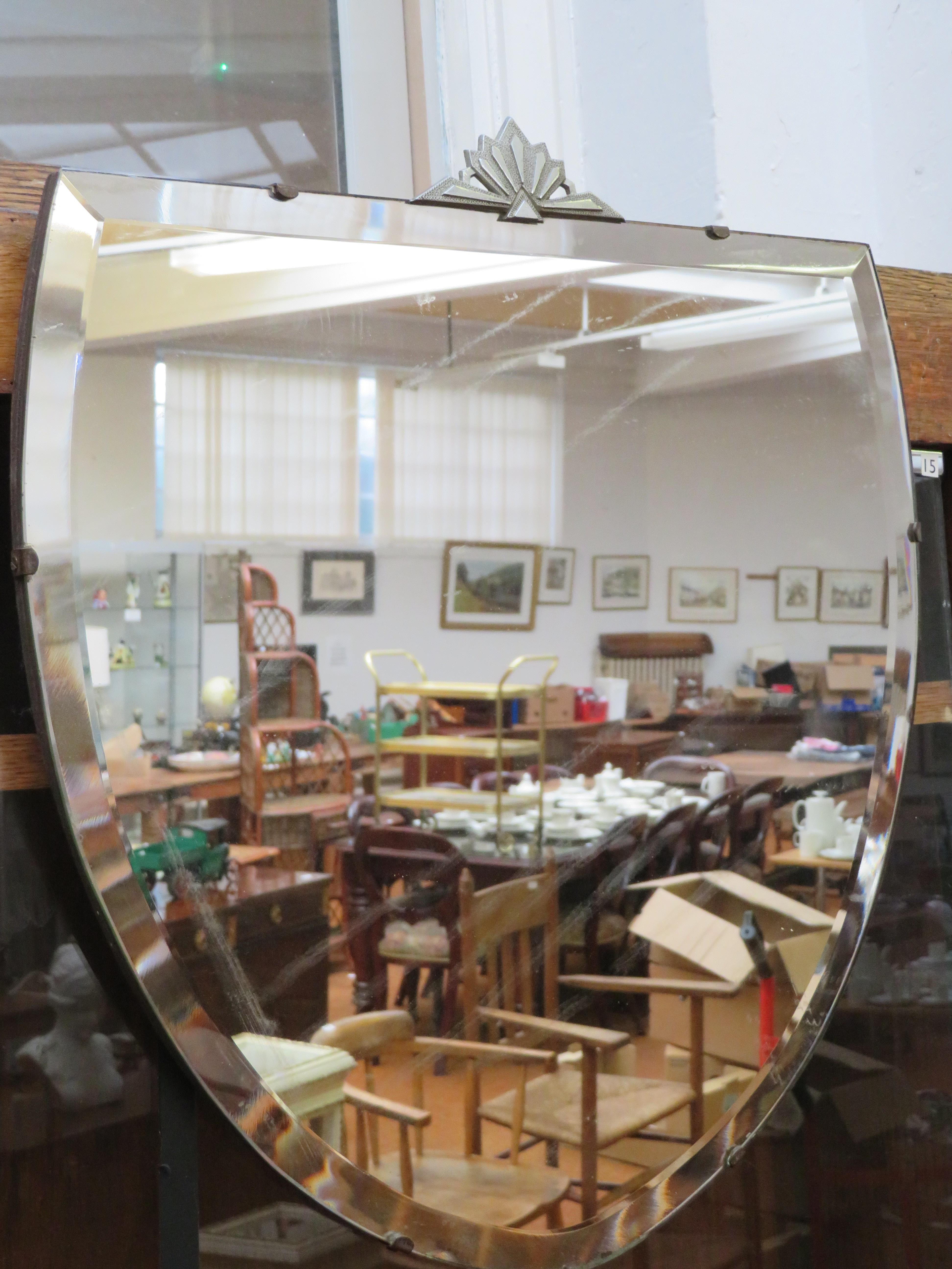 Lot 237 - Art deco shield mirror